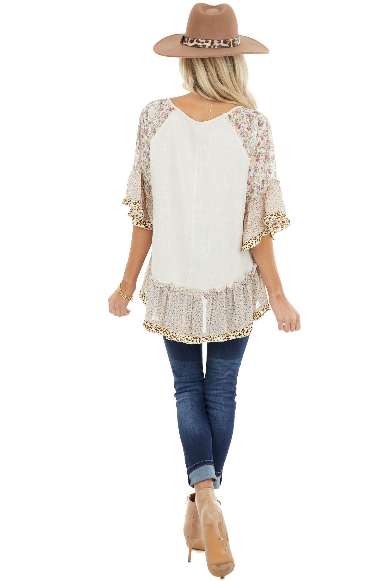 Beige Blouse with Multi Floral Print Ruffle Sleeves and Hem