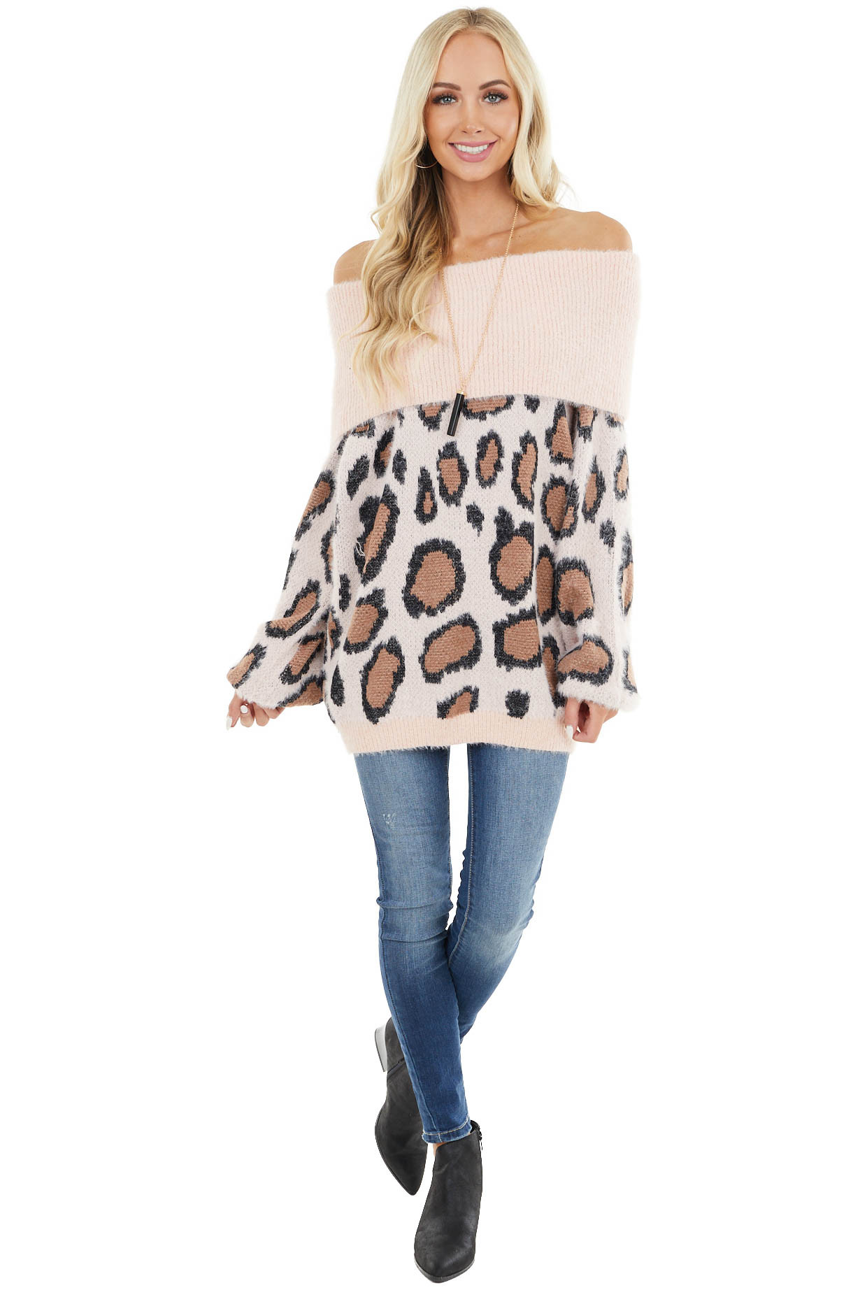 Blush Fuzzy Leopard Long Sleeve Off the Shoulder Sweater