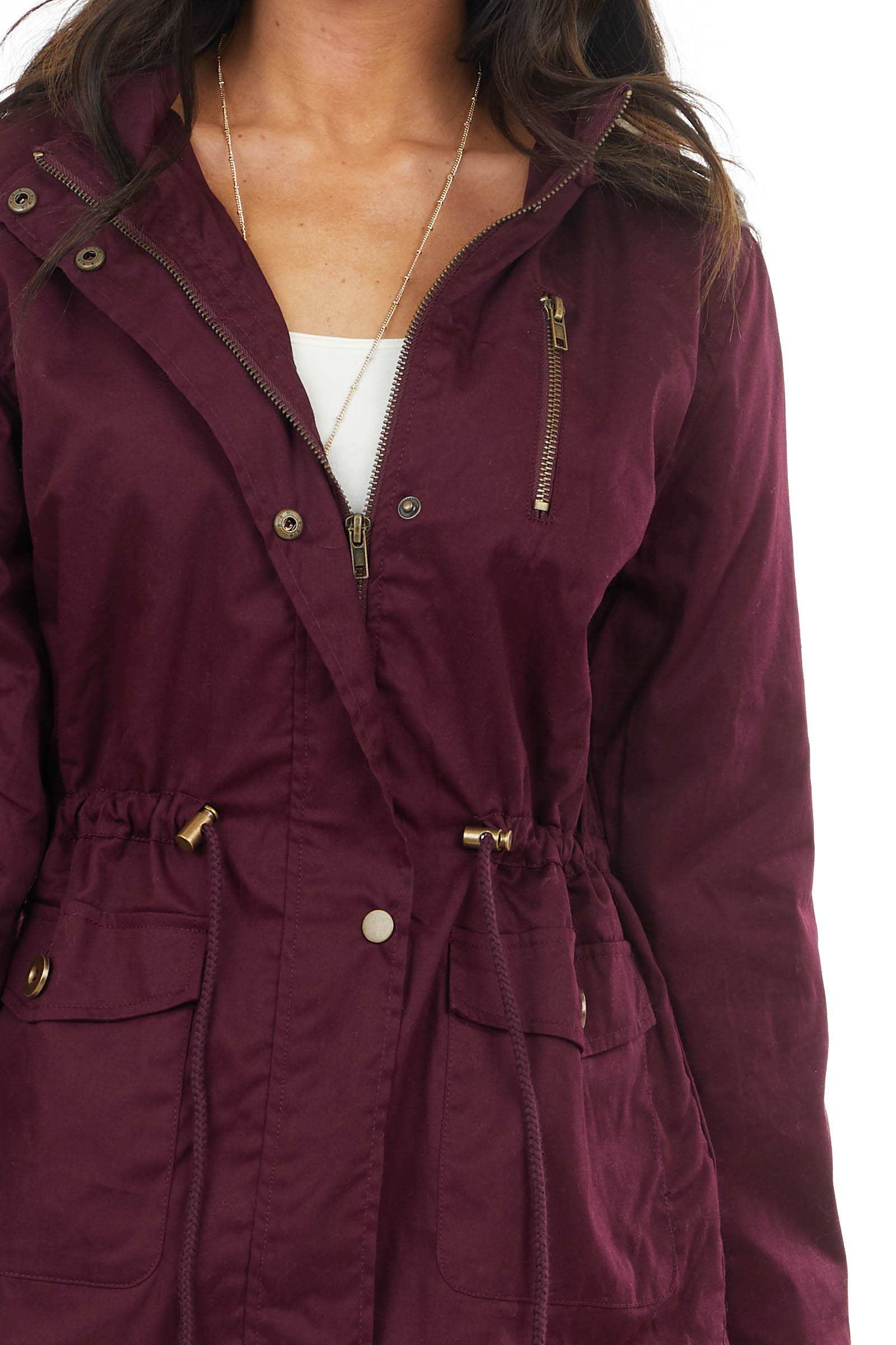 Mulberry Anorak Jacket with Faux Fur Lining and Front Tie
