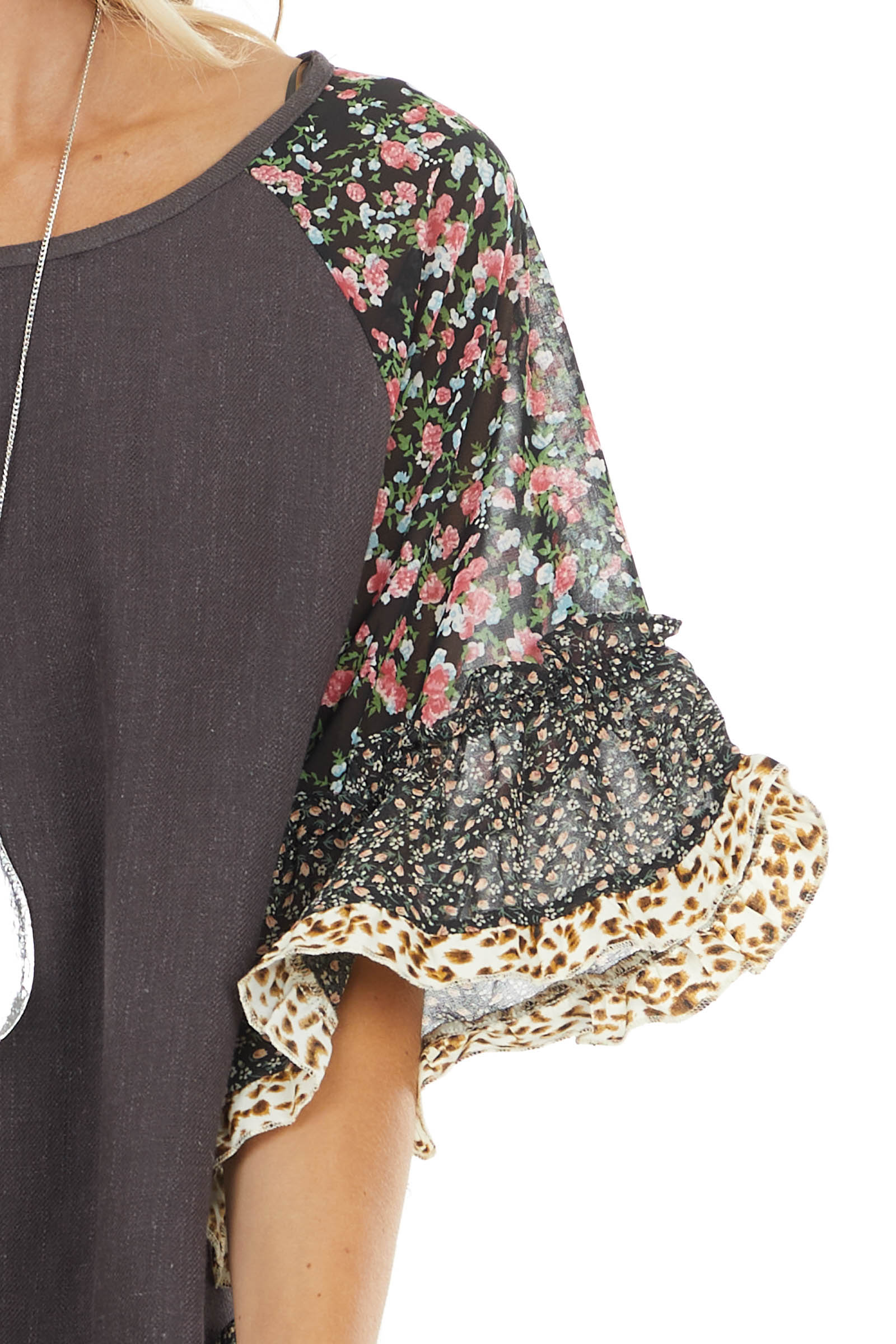 Charcoal Blouse with Multi Floral Ruffle Sleeves and Hem