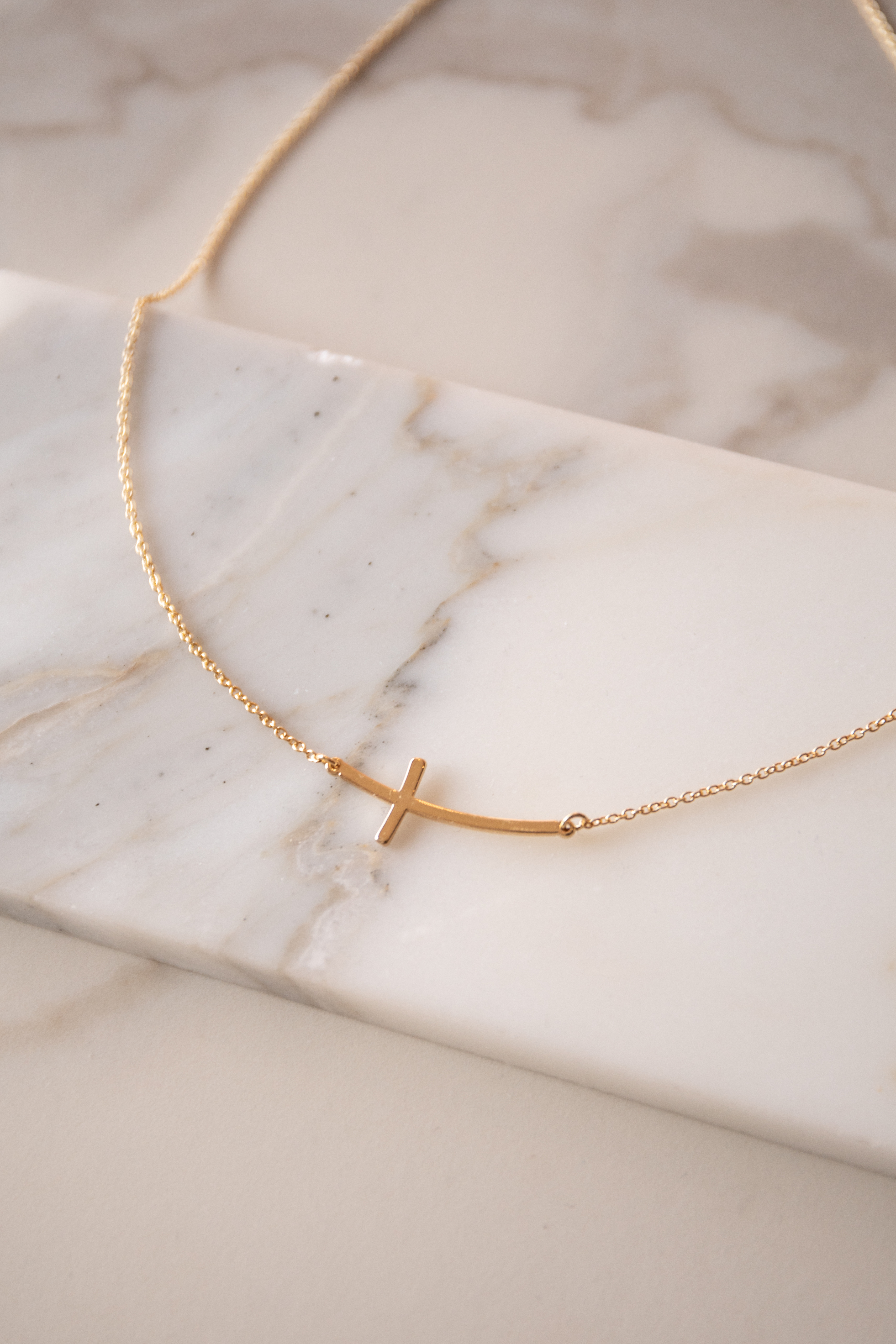 Gold Dainty Short Necklace with Sideways Cross Charm