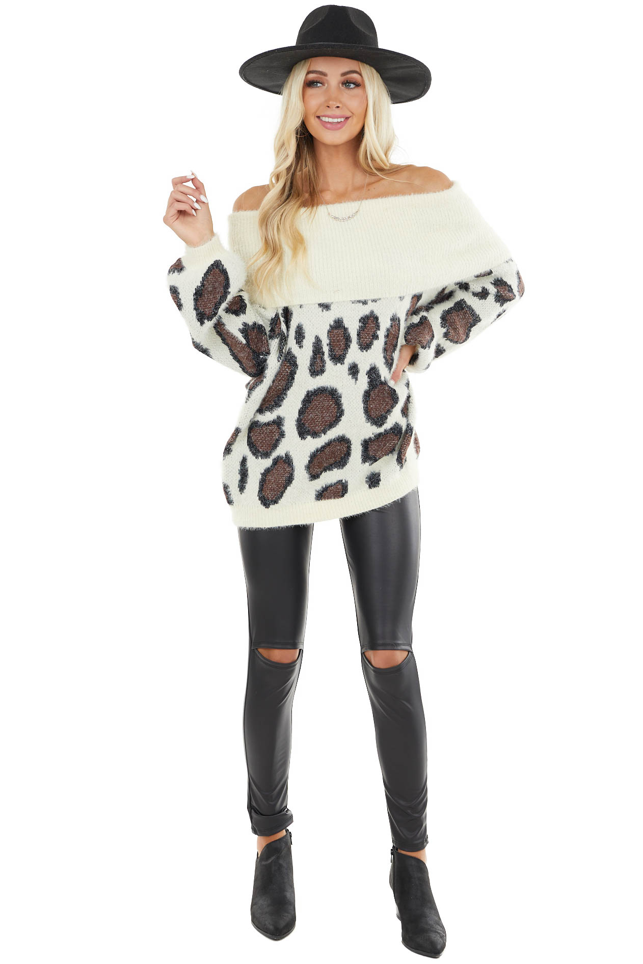 Cream Fuzzy Leopard Long Sleeve Off the Shoulder Sweater