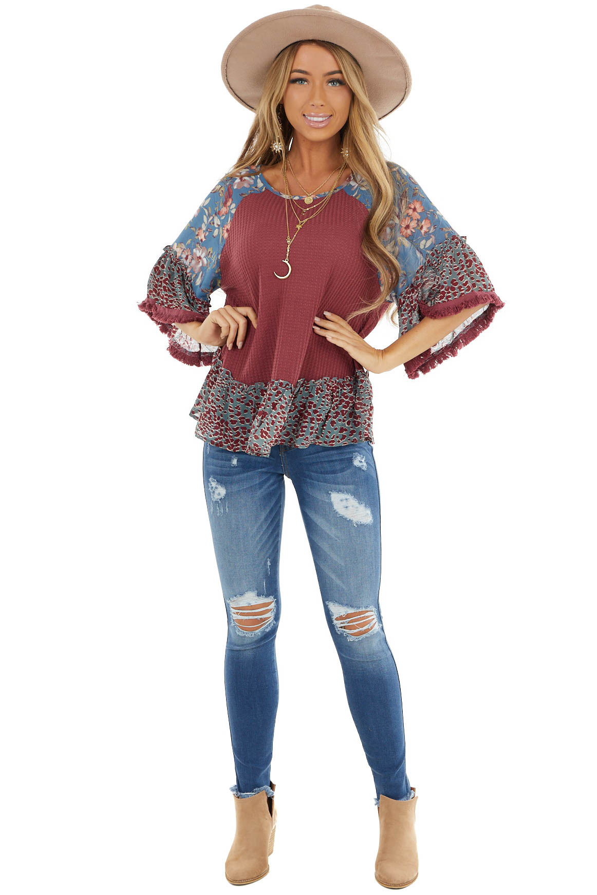 Marsala Multiprint Waffle Knit Top with Fringe Detail