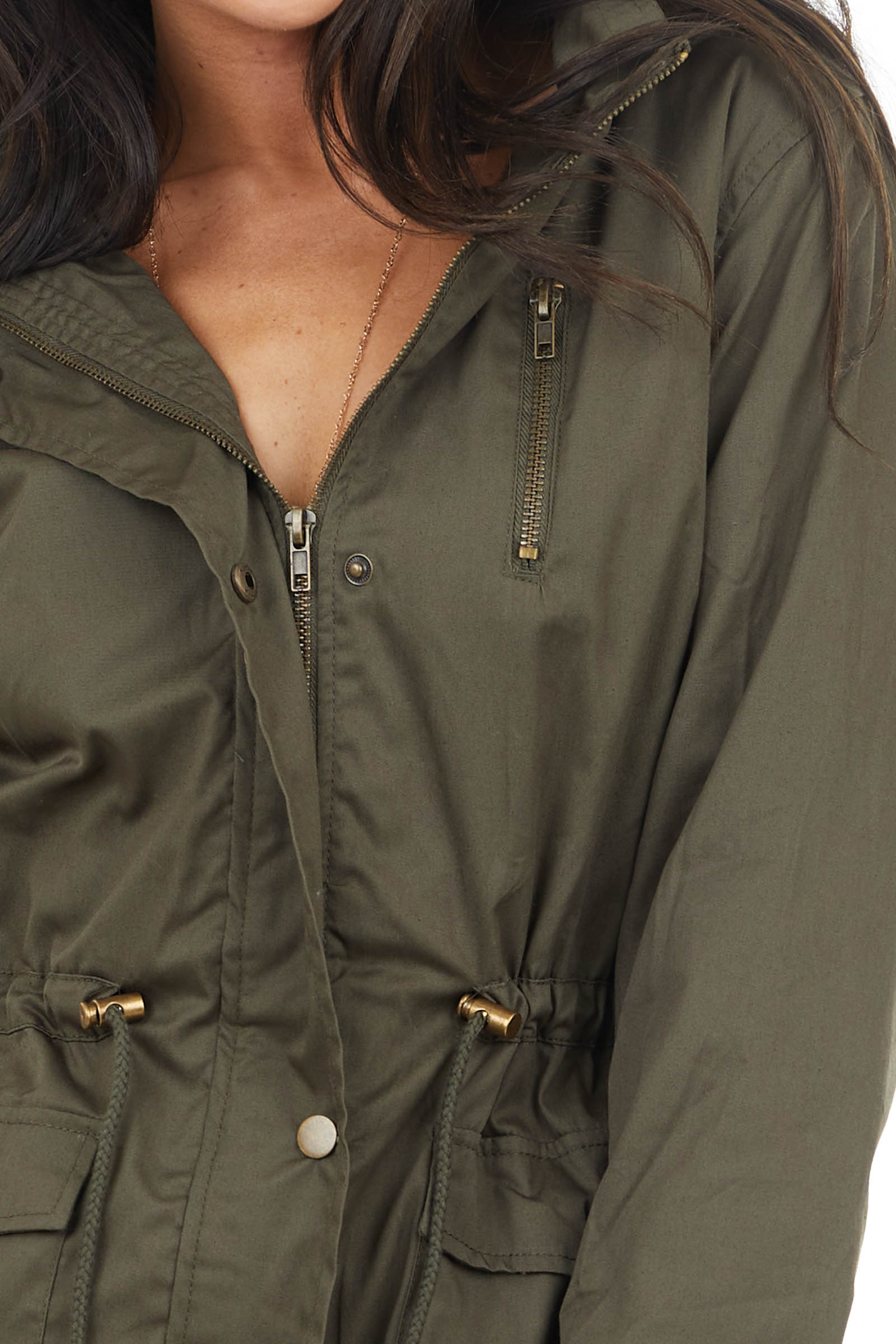 Olive Anorak Jacket with Faux Fur Lining and Front Tie