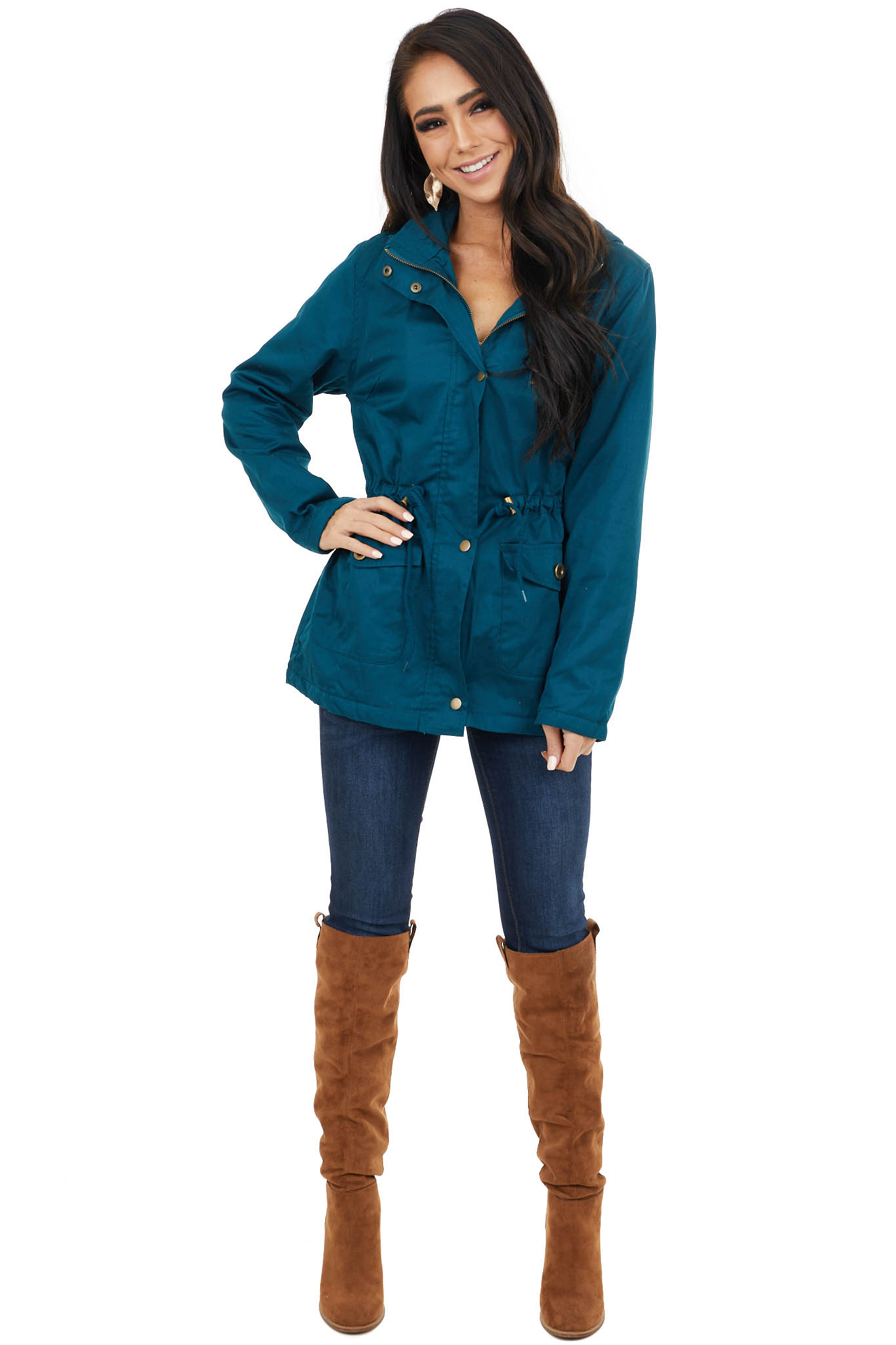Dark Teal Anorak Jacket with Faux Fur Lining and Front Tie