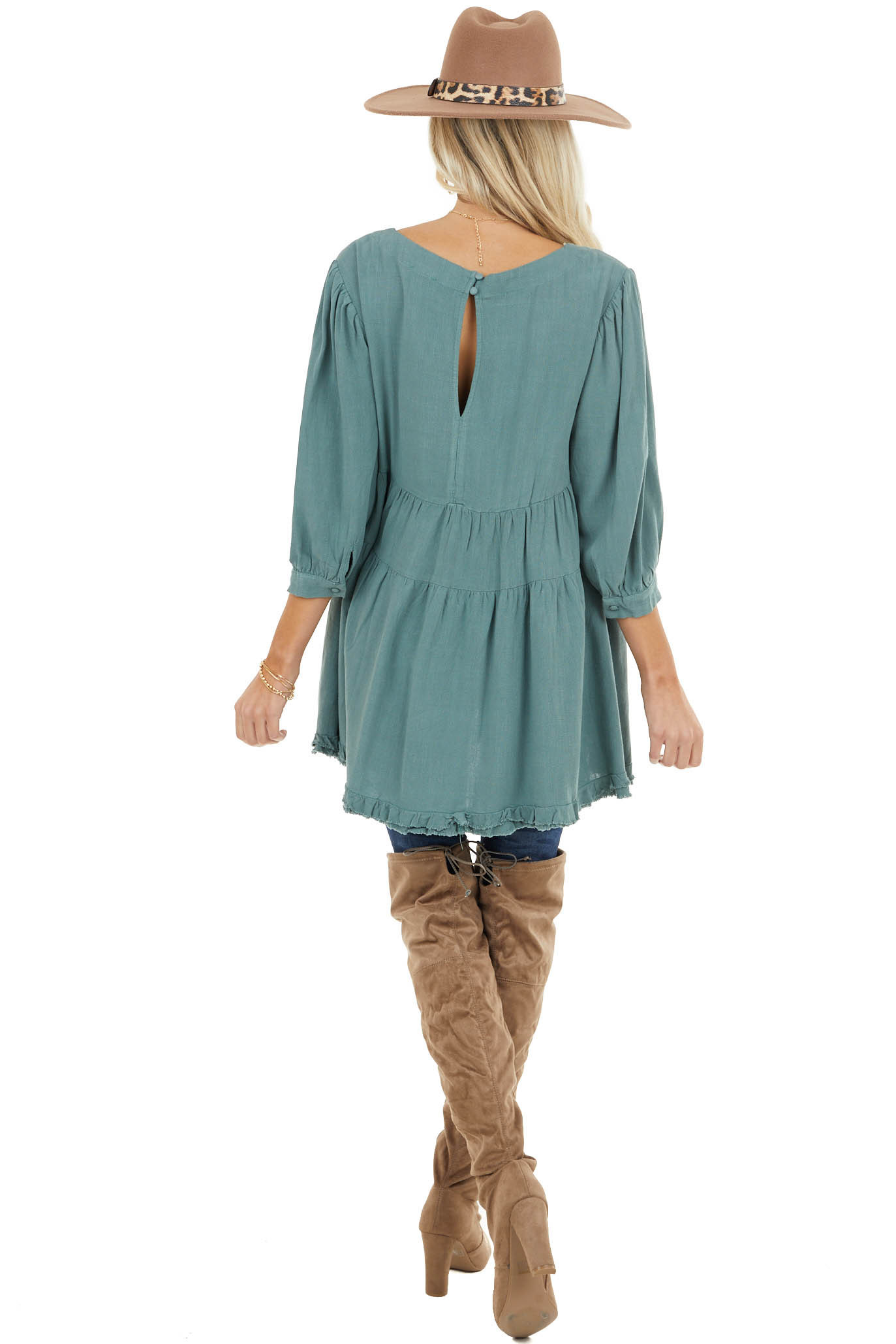 Sage 3/4 Sleeve Tiered Babydoll Top with Frayed Hem