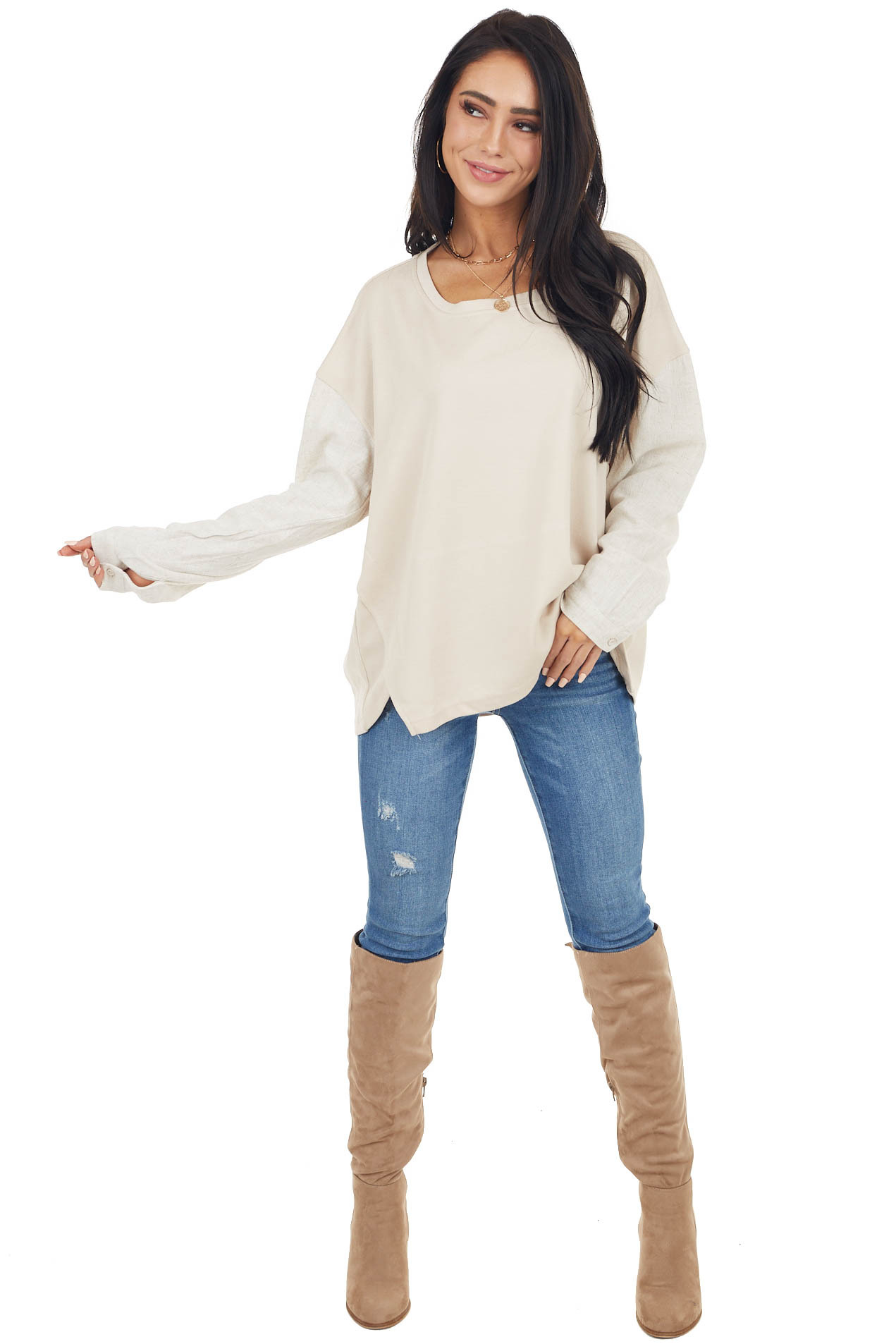 Oatmeal Contrasting Long Sleeve Top with Side Slit Detail