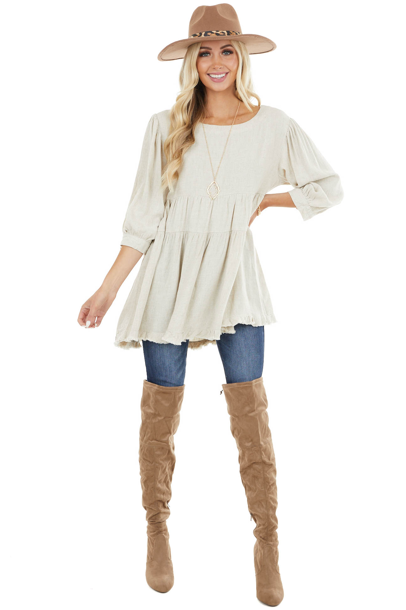 Oatmeal 3/4 Sleeve Tiered Babydoll Top with Frayed Hem