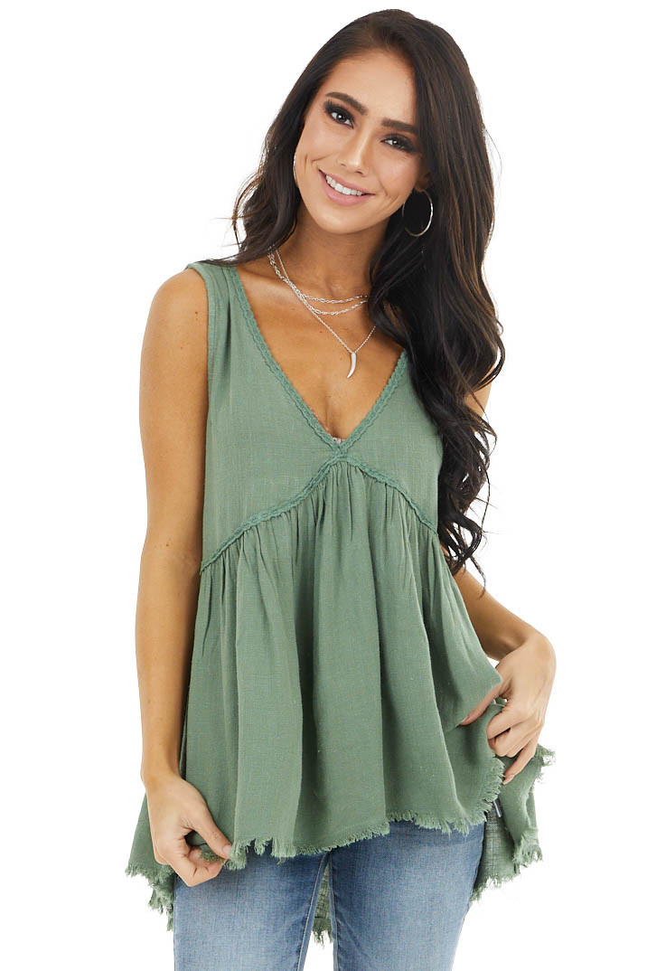 Sage Babydoll Sleeveless Top with Lace and Frayed Detail