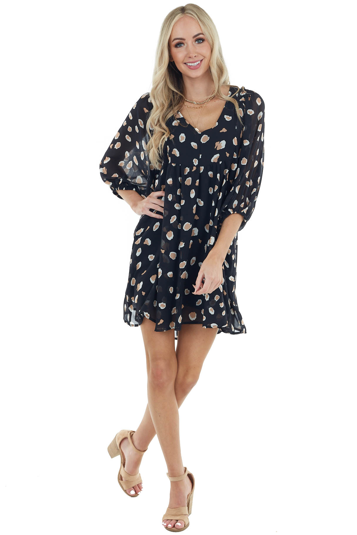 Black Leopard Print Babydoll Dress with Puff Sleeves