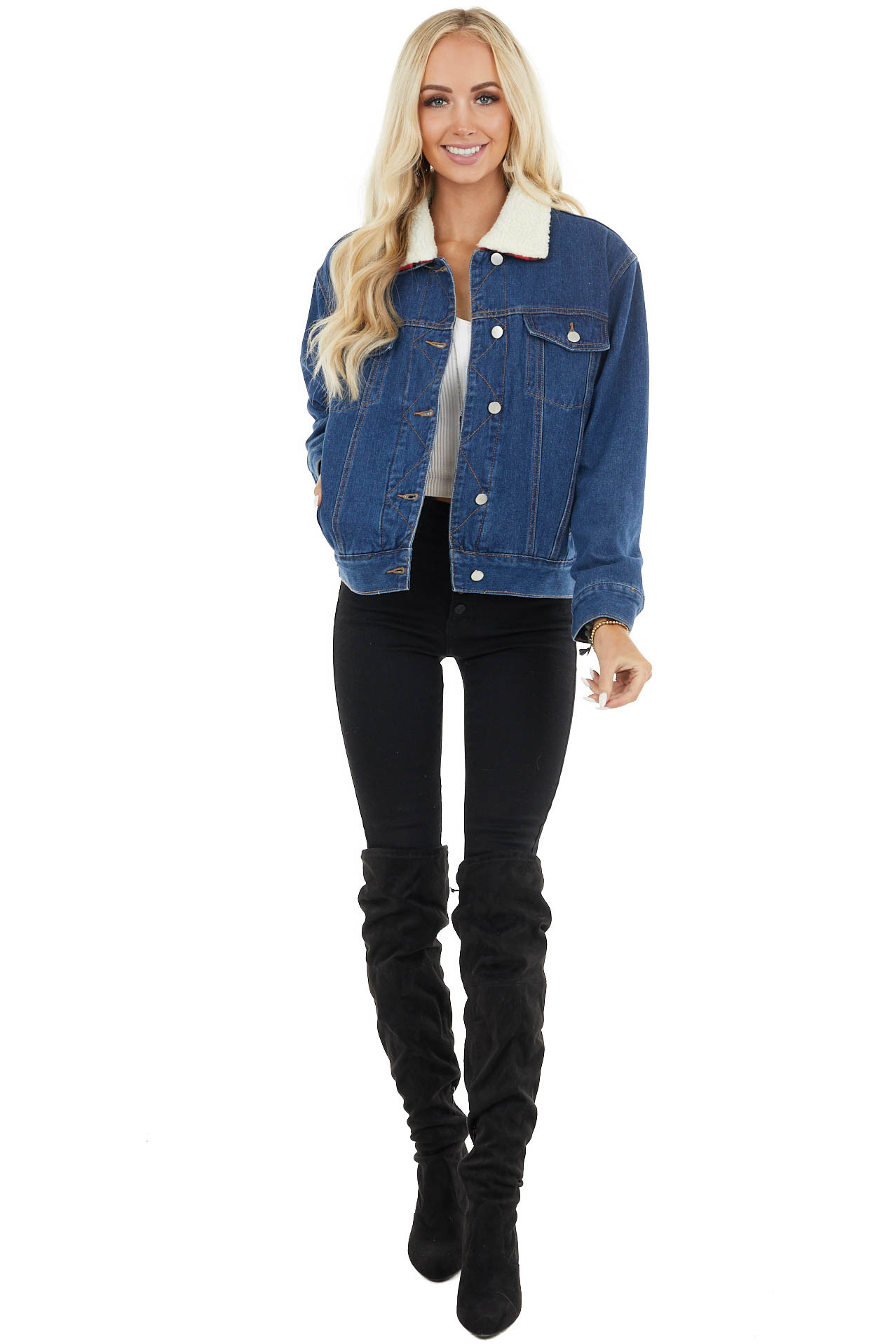 Denim Jacket with Red Buffalo Plaid Lining and Sherpa Collar