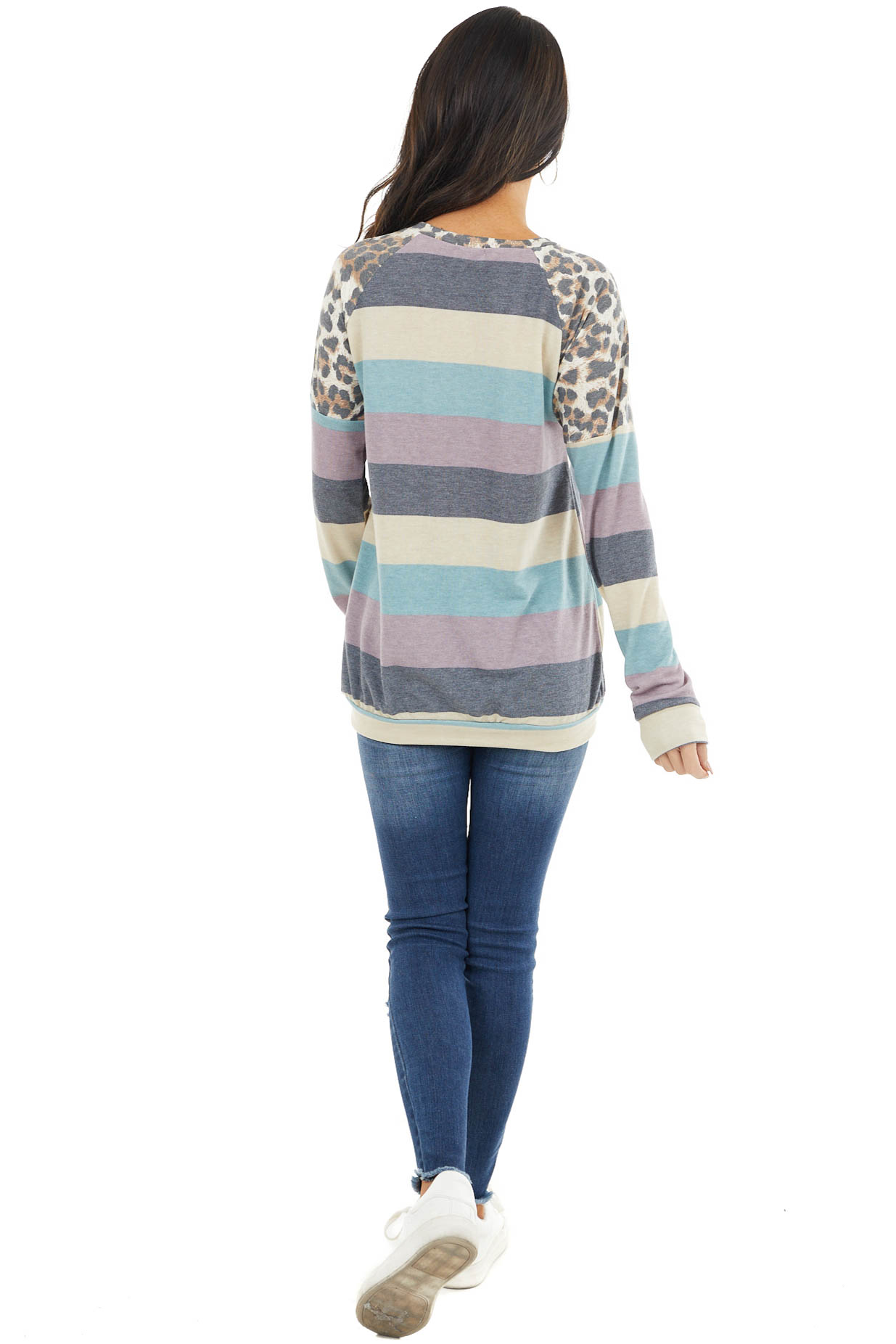 Lavender and Teal Striped Long Sleeve Top with Leopard Print