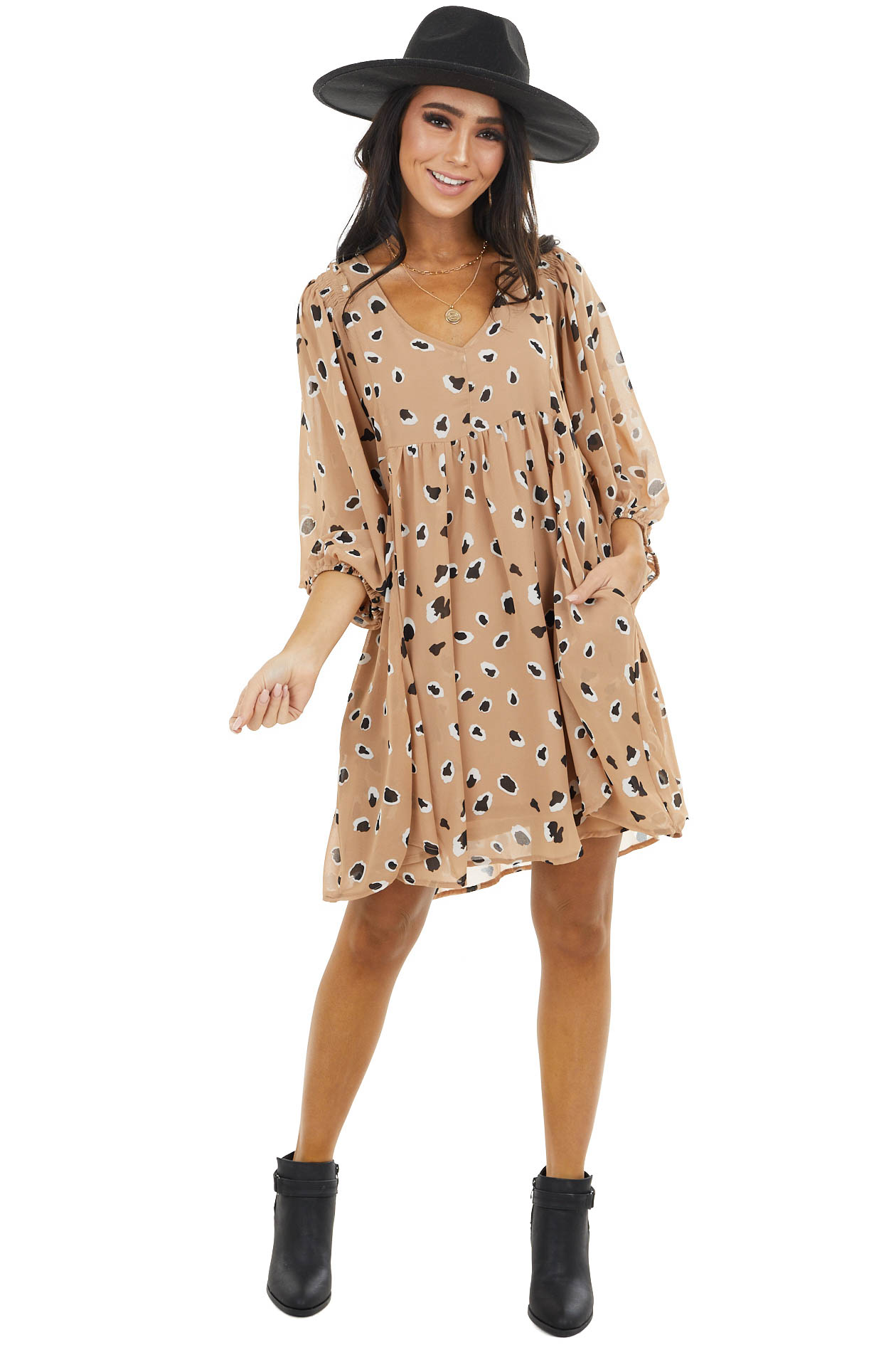 Latte Leopard Print Babydoll Dress with Puff Sleeves
