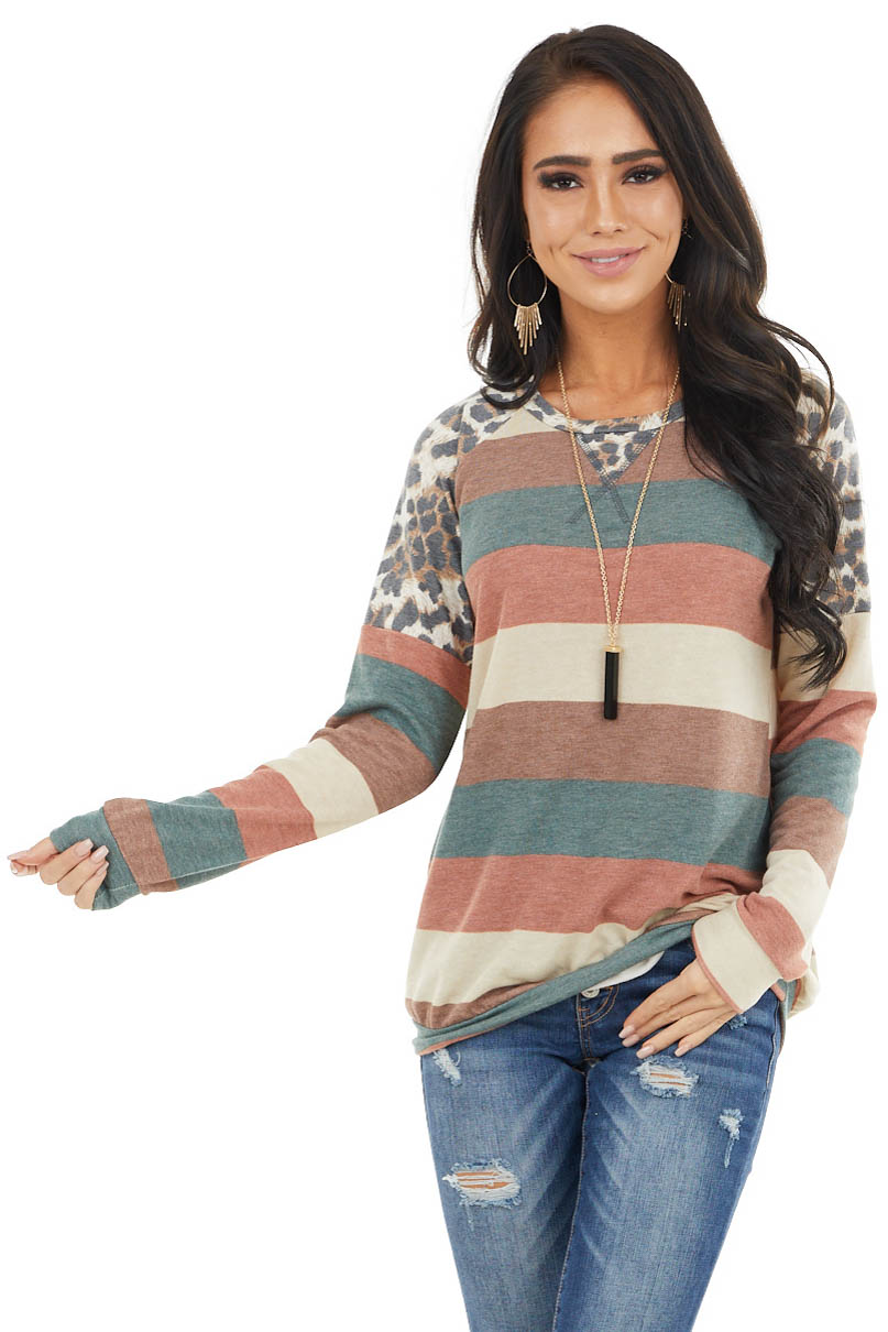 Hunter Green Striped Long Sleeve Top with Leopard Print