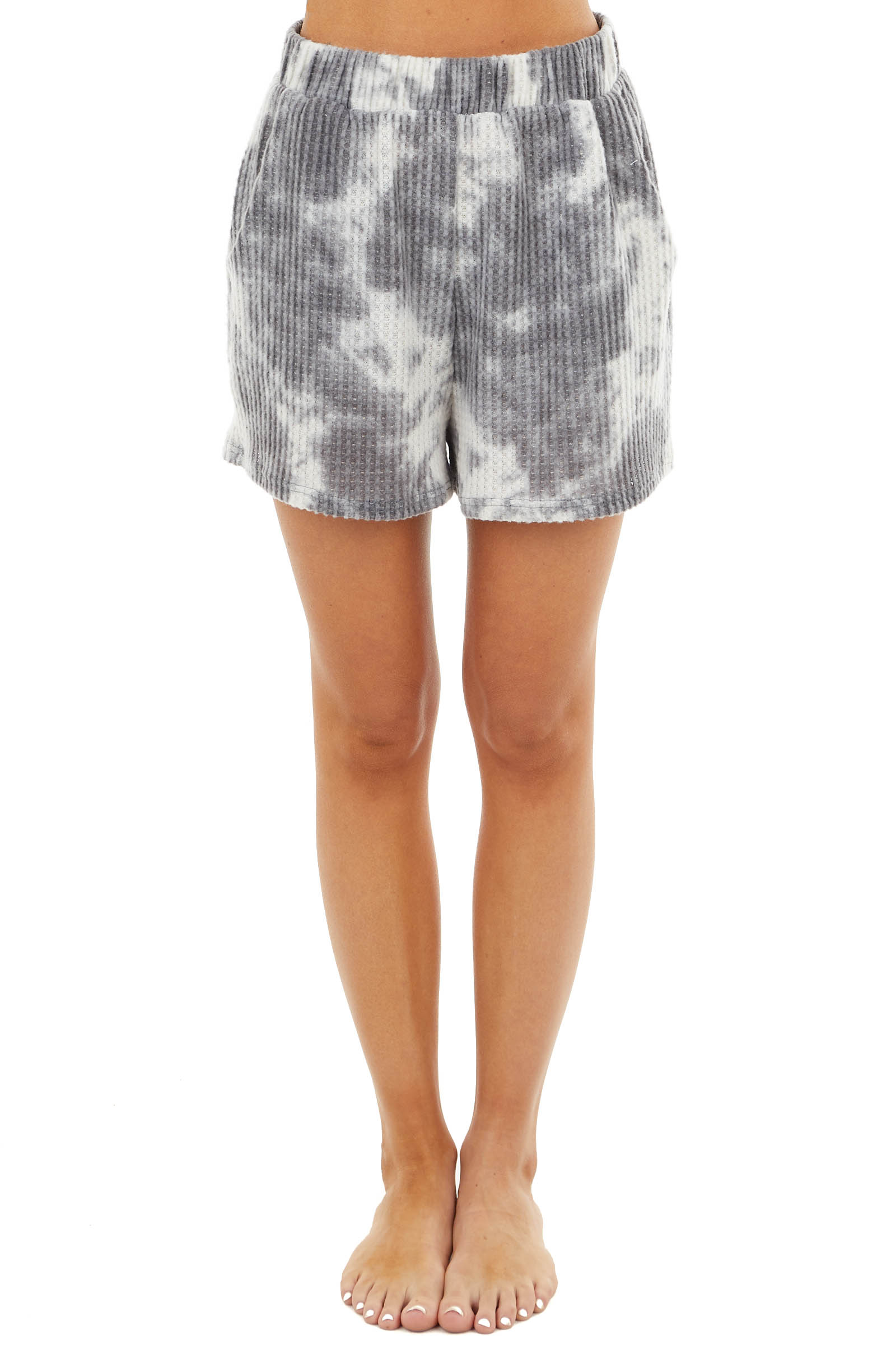 Charcoal Tie Dye Print Waffle Knit Shorts with Pockets