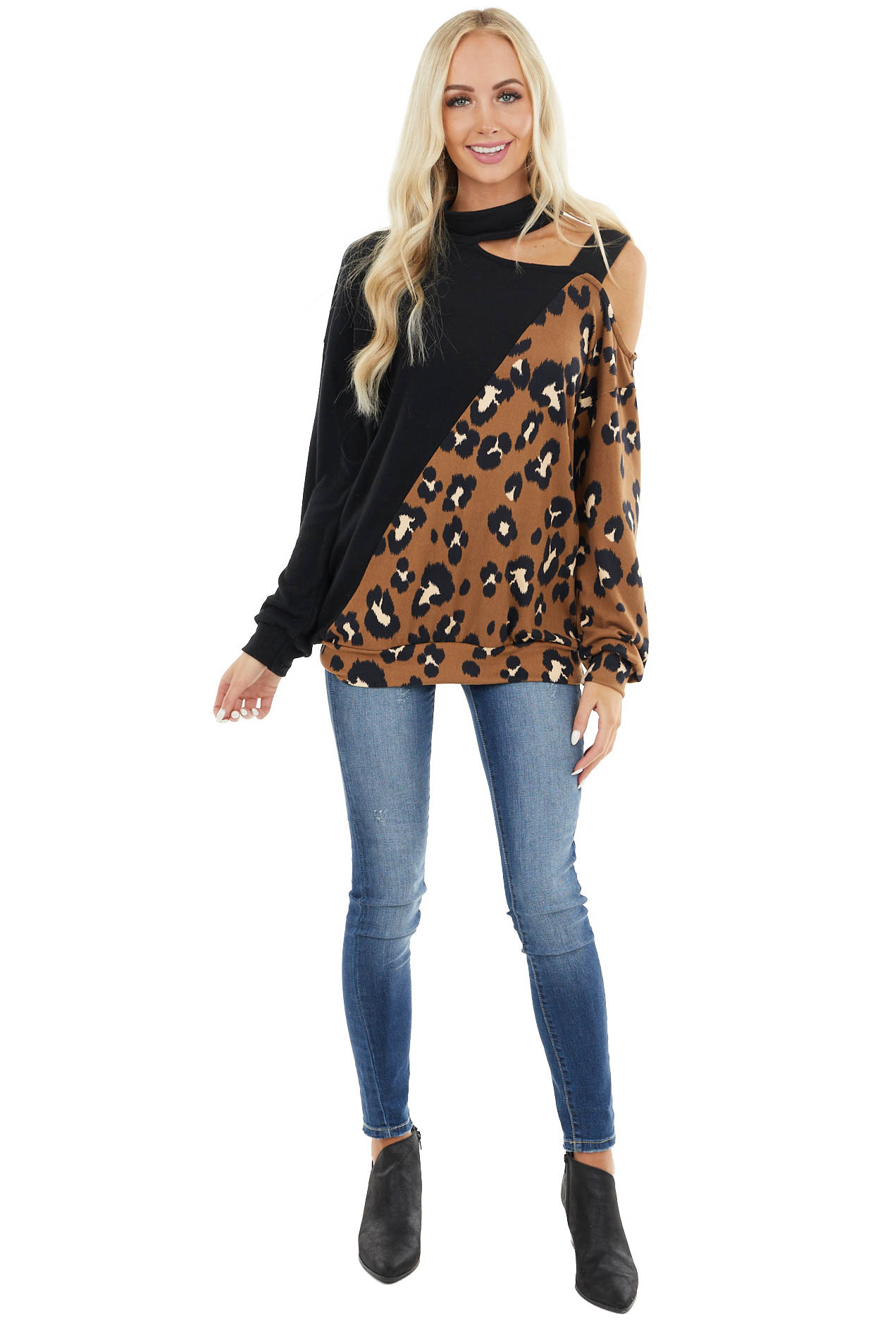 Black and Leopard Print Knit Top with Shoulder Cutout Detail