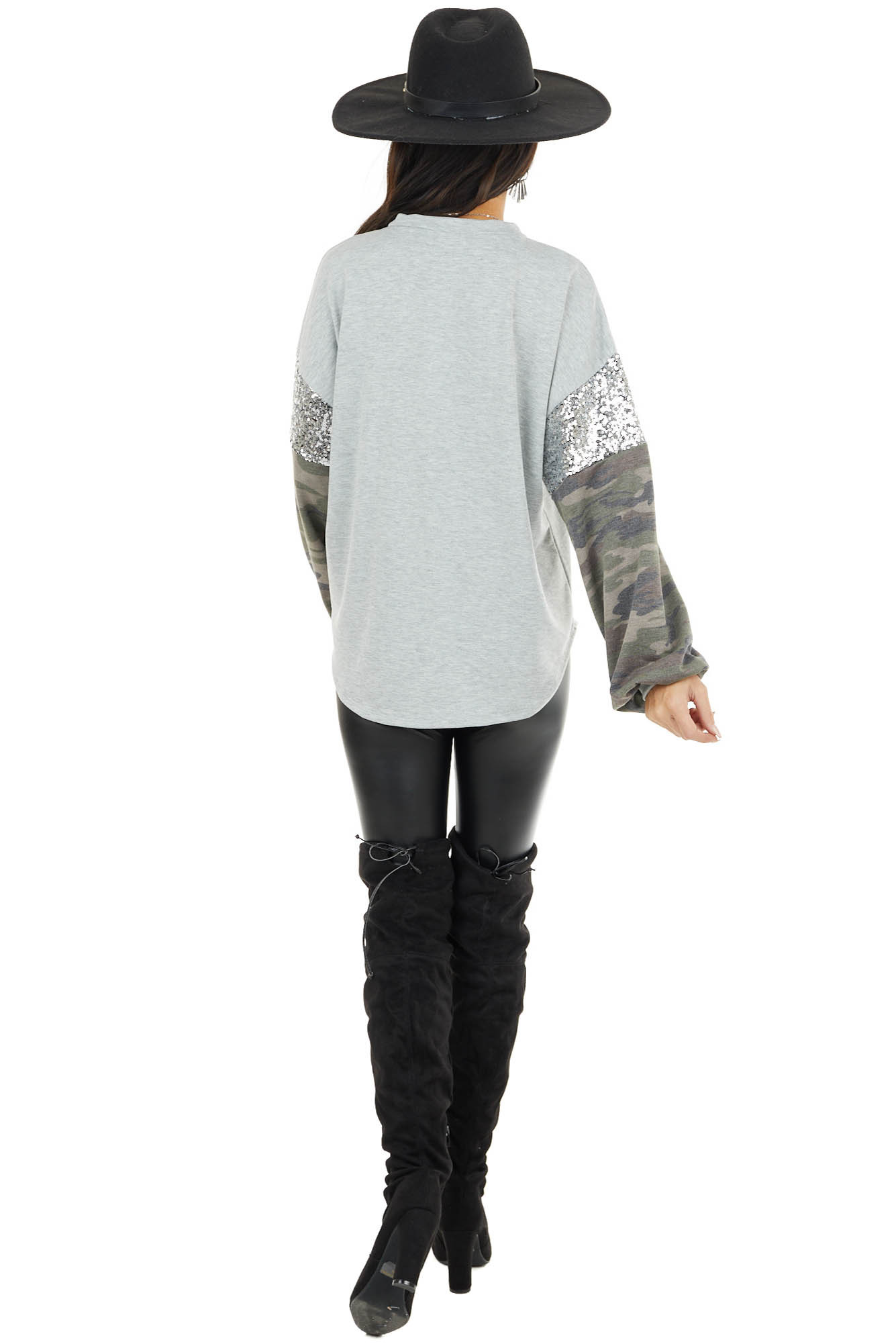 Heather Grey Knit Top with Camo Print and Sequin Long Sleeve