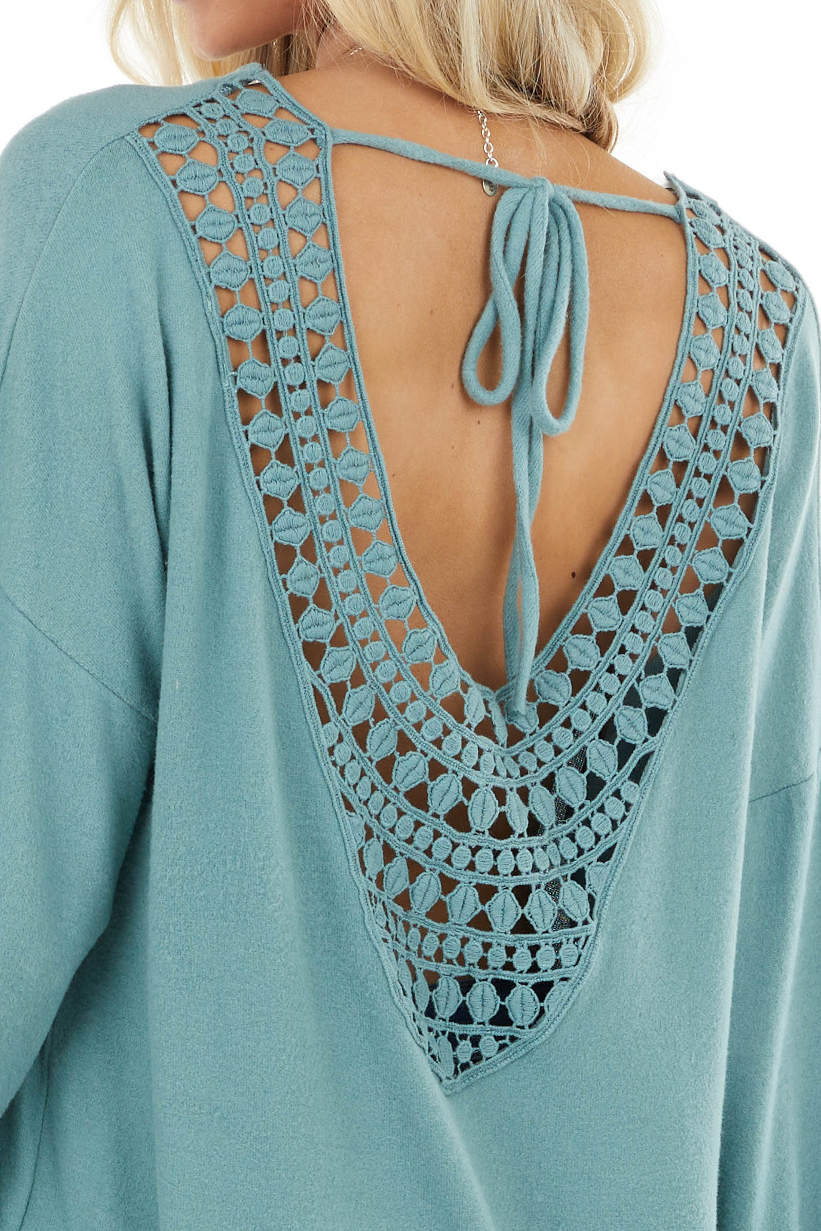 Sage Long Sleeve Top with Crochet Lace and Tie Detail