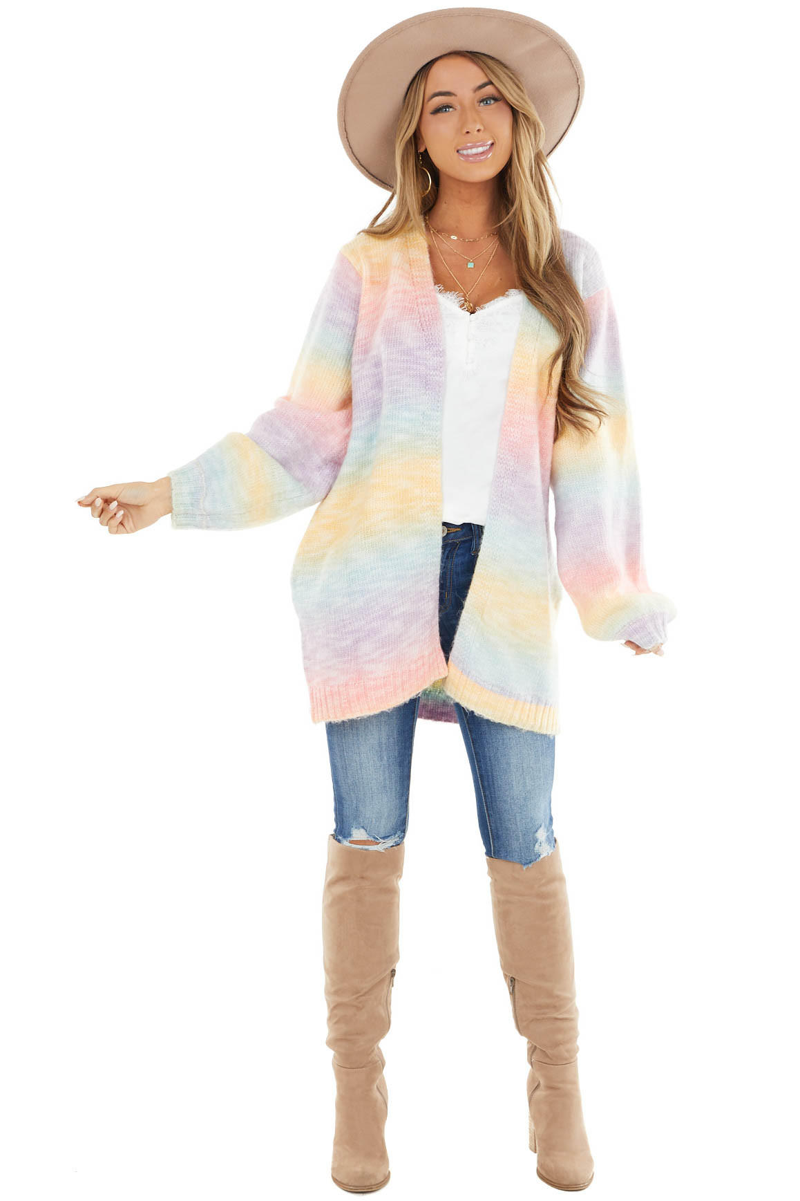 Rainbow Open Front Knit Cardigan with Side Pockets