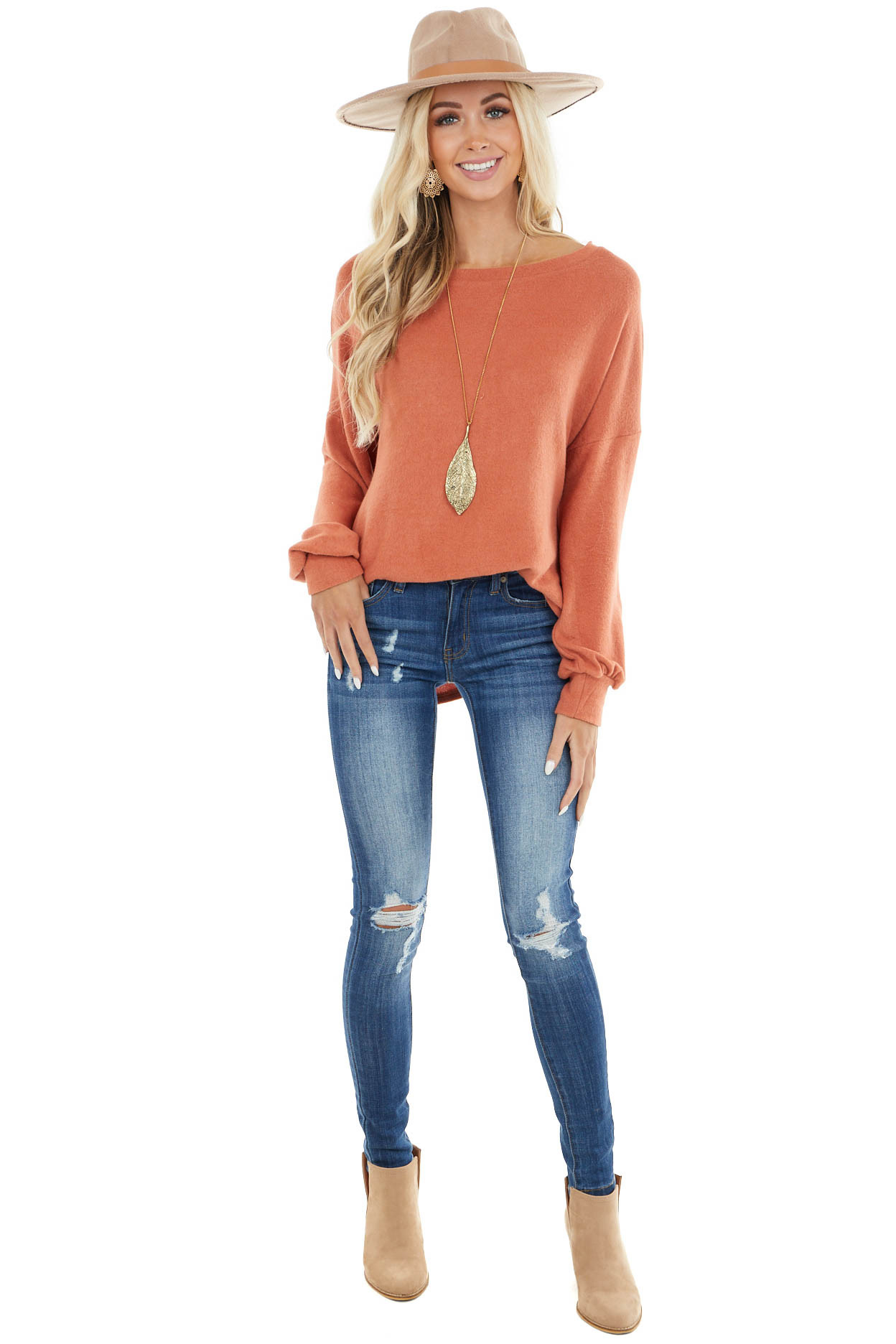 Rust Long Sleeve Top with Crochet Lace and Tie Detail