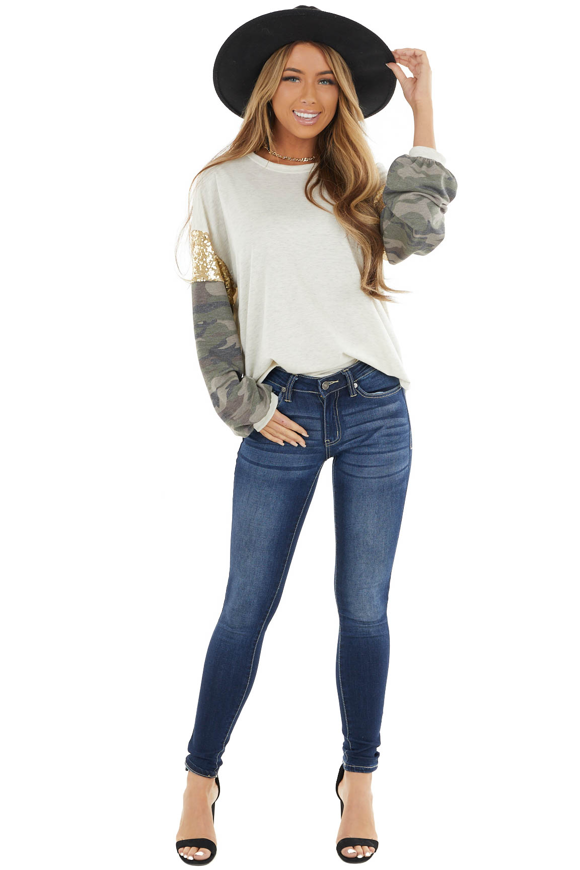Oatmeal Knit Top with Camo Print and Gold Sequin Long Sleeve