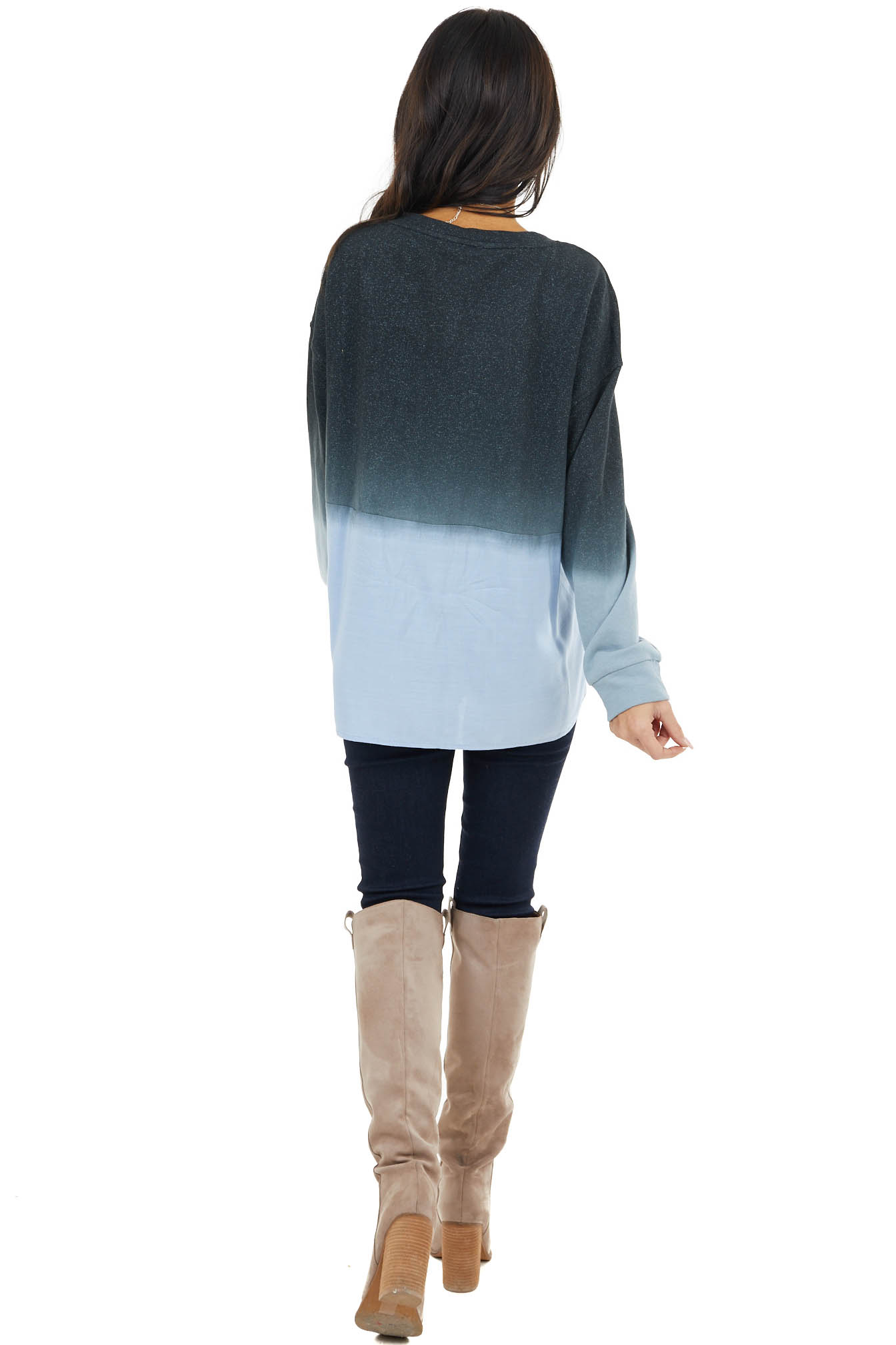 Ash Blue Speckled Ombre Long Sleeve Top with Contrast Back