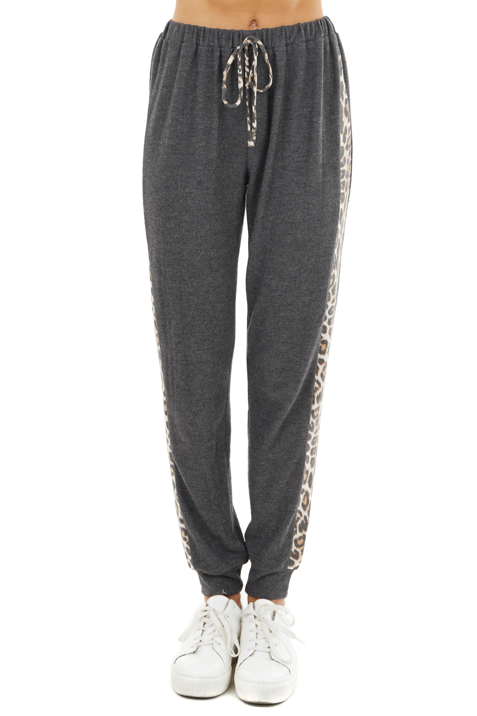 Charcoal Soft Knit Joggers with Leopard Print Side Contrast