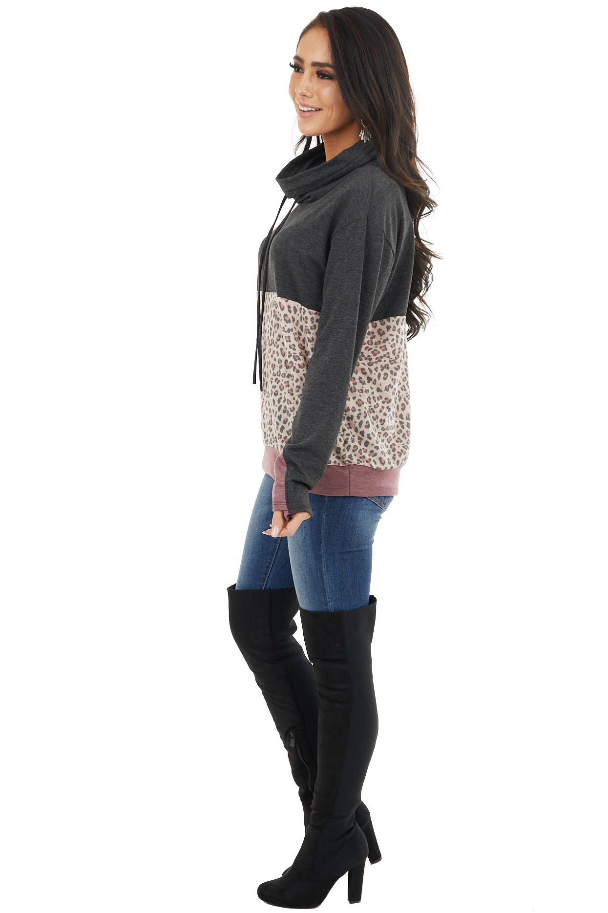 Charcoal Knit Cowl Neck Sweatshirt with Beige Leopard Print