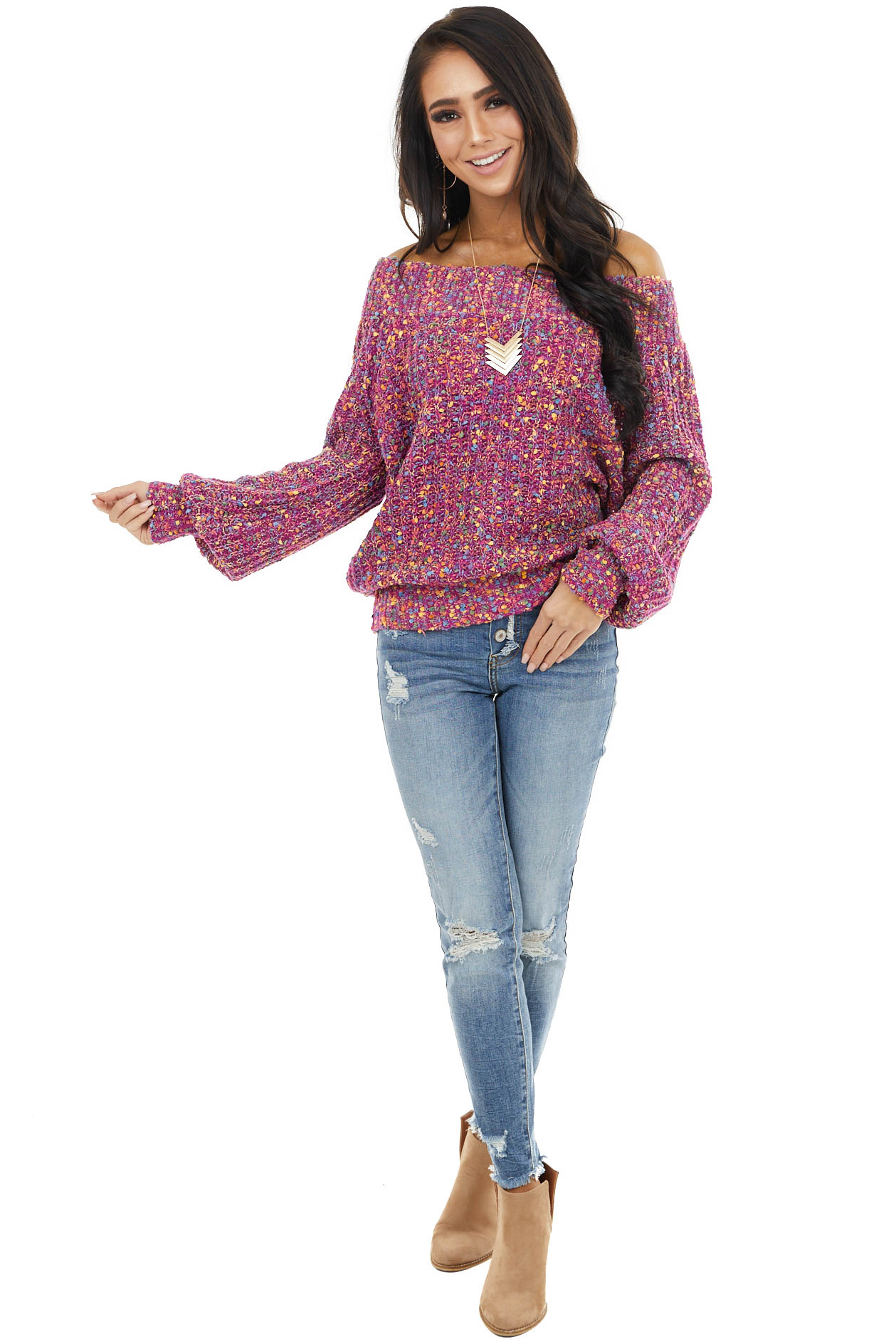 Plum Confetti Knit Off Shoulder Sweater with Puff Sleeves