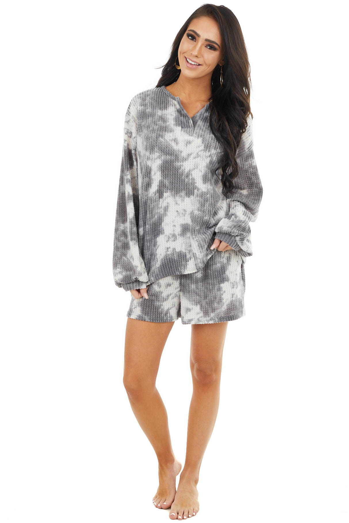 Charcoal Tie Dye Print Waffle Knit Long Sleeve V Neck Top