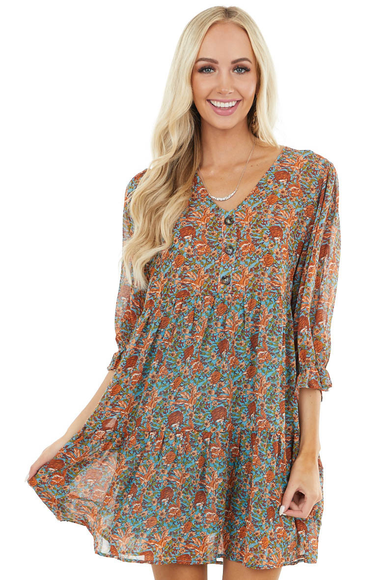 Ocean Blue Floral Babydoll Tiered Dress with Bubble Sleeves