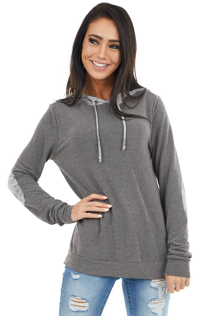 Charcoal Long Sleeve Lightweight Hoodie with Camo Detail