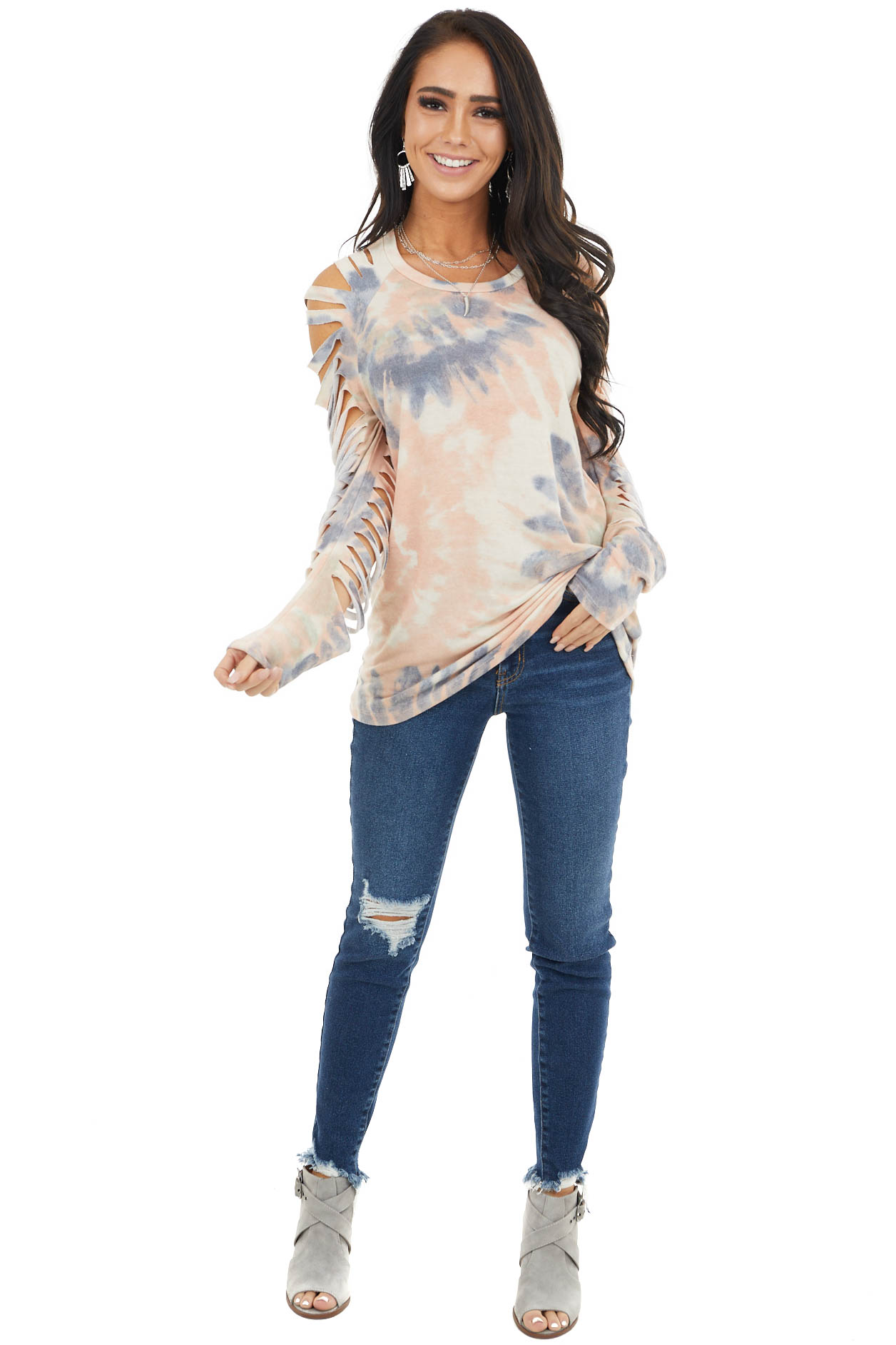 Baby Pink Tie Dye Long Sleeve Knit Top with Ladder Cutout