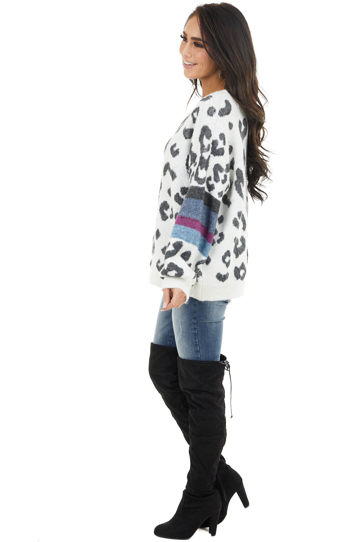 Ivory Leopard Print Sweater with Striped Sleeve Contrast