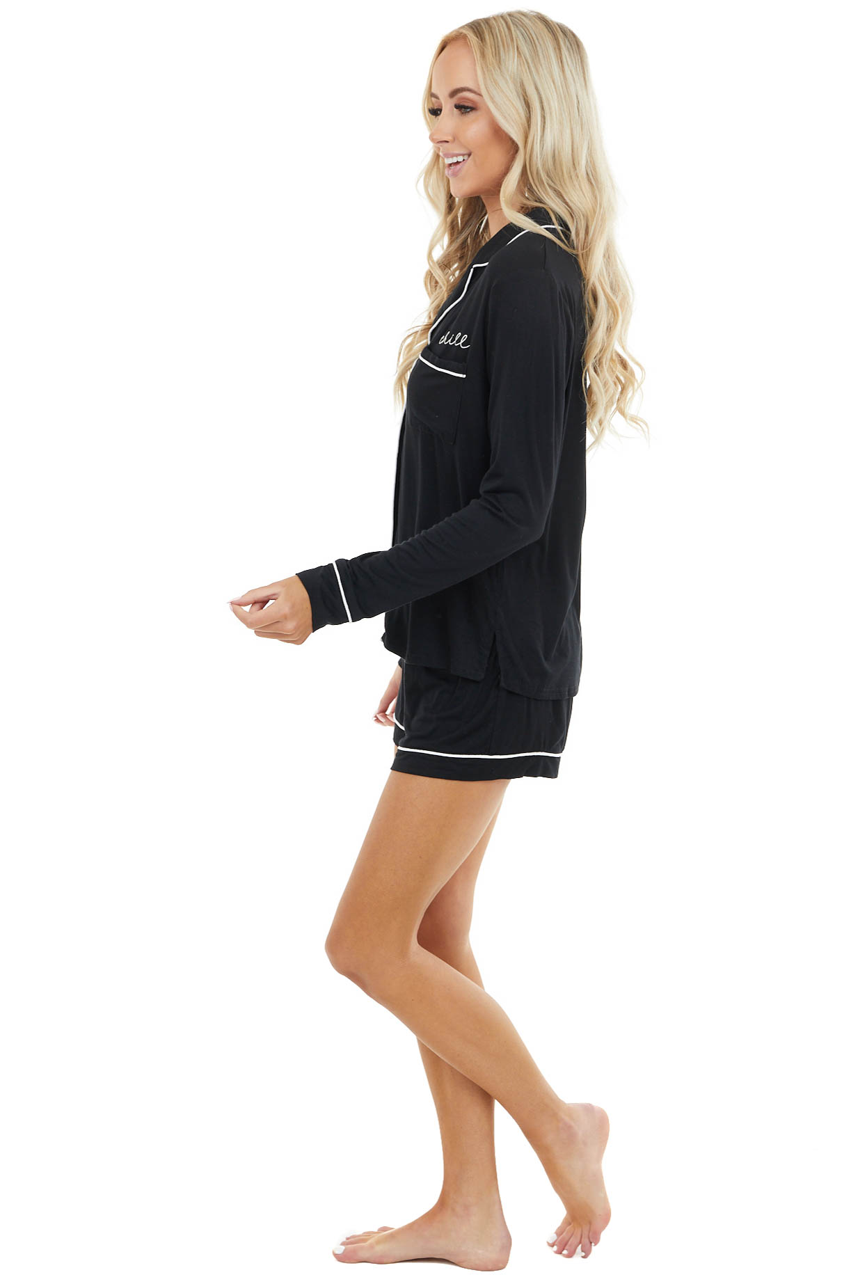 "Black Super Soft Knit Lounge Set with ""Chill"" Embroidery"