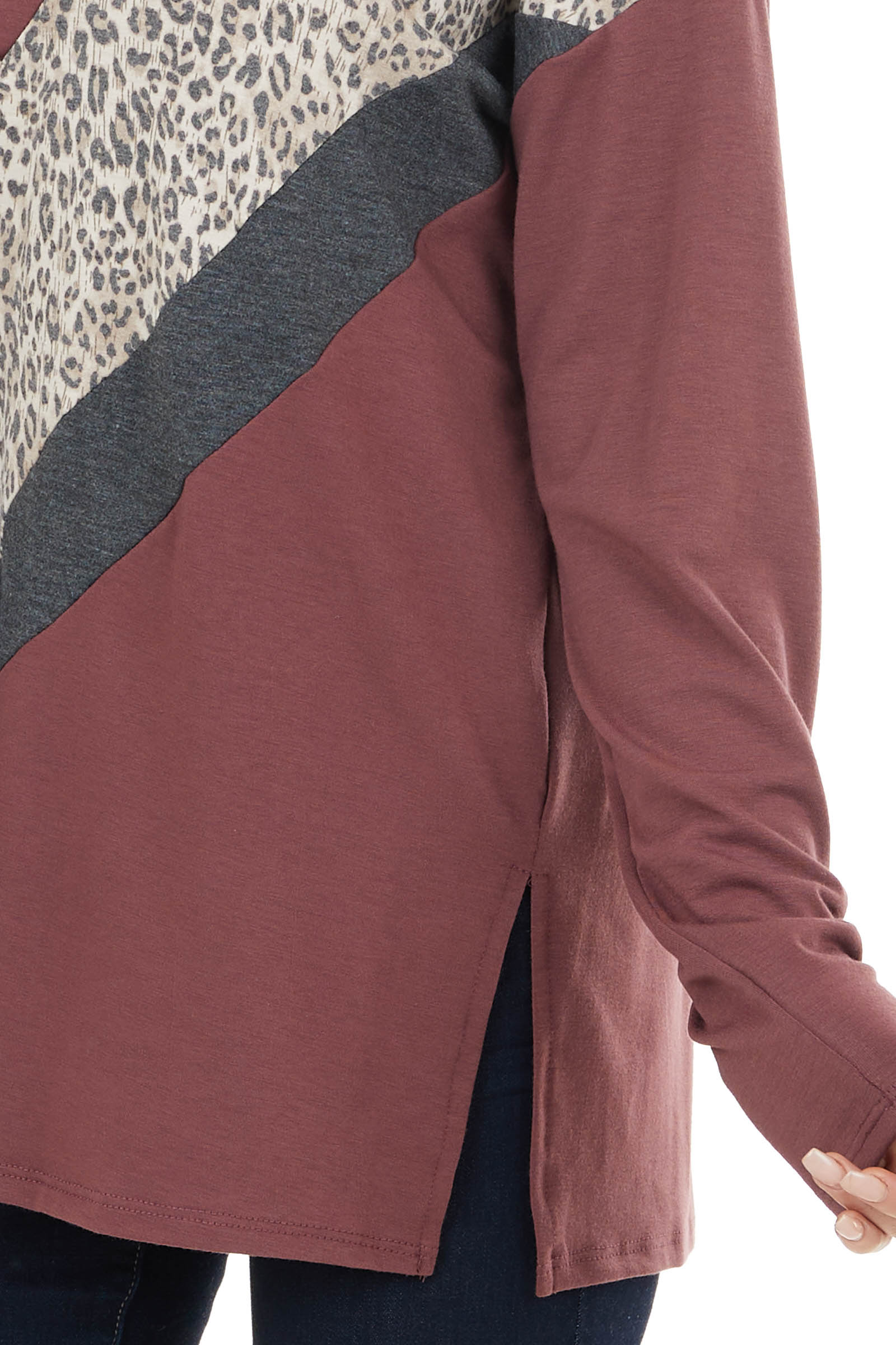 Marsala Colorblock Knit Long Sleeve Top with Leopard Detail