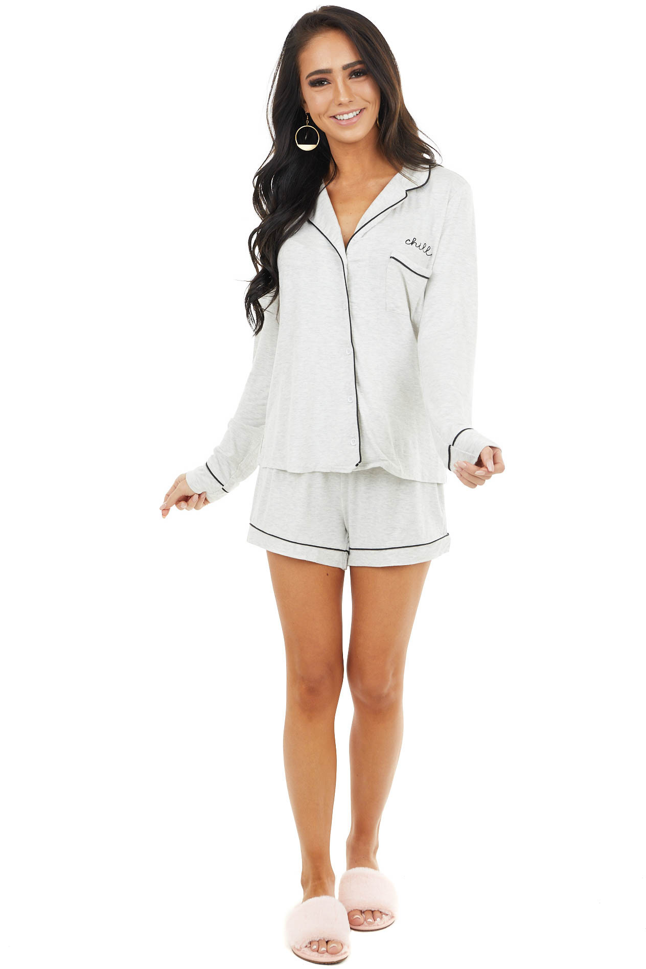 "Heather Grey Soft Knit Lounge Set with ""Chill"" Embroidery"