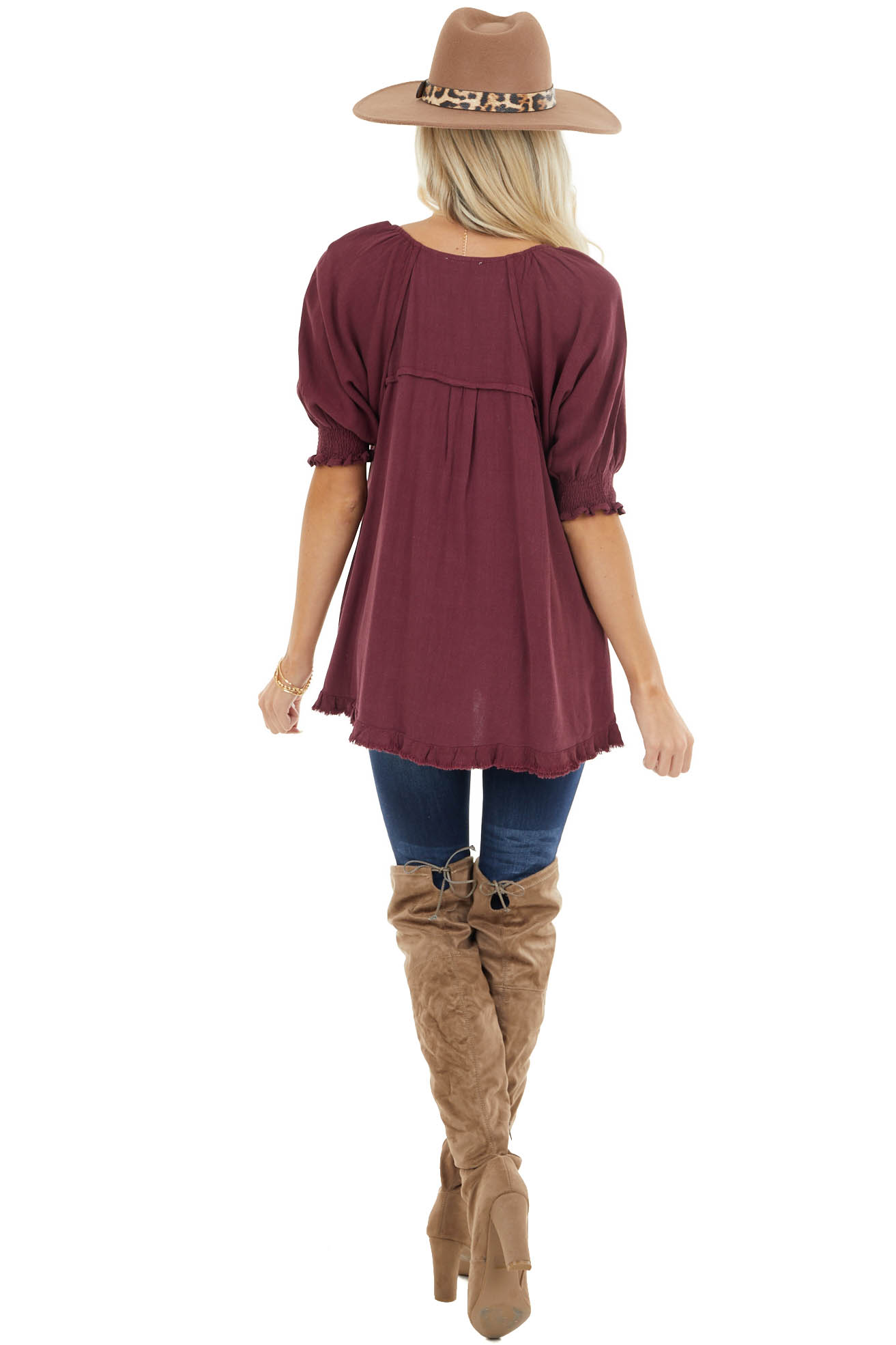 Wine Woven Half Bubble Sleeve Top with Frayed Hem