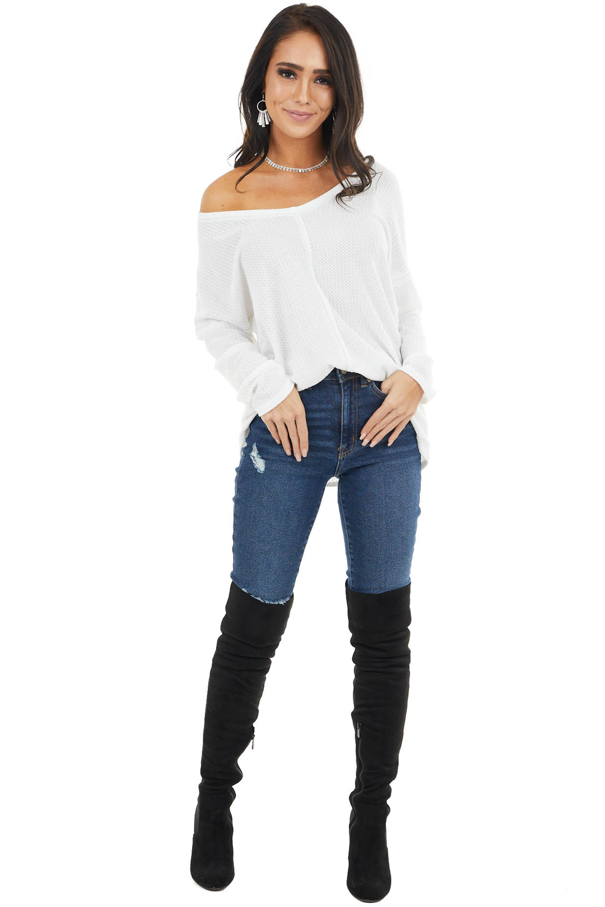 Off White Long Sleeve Waffle Knit Top with V Neckline