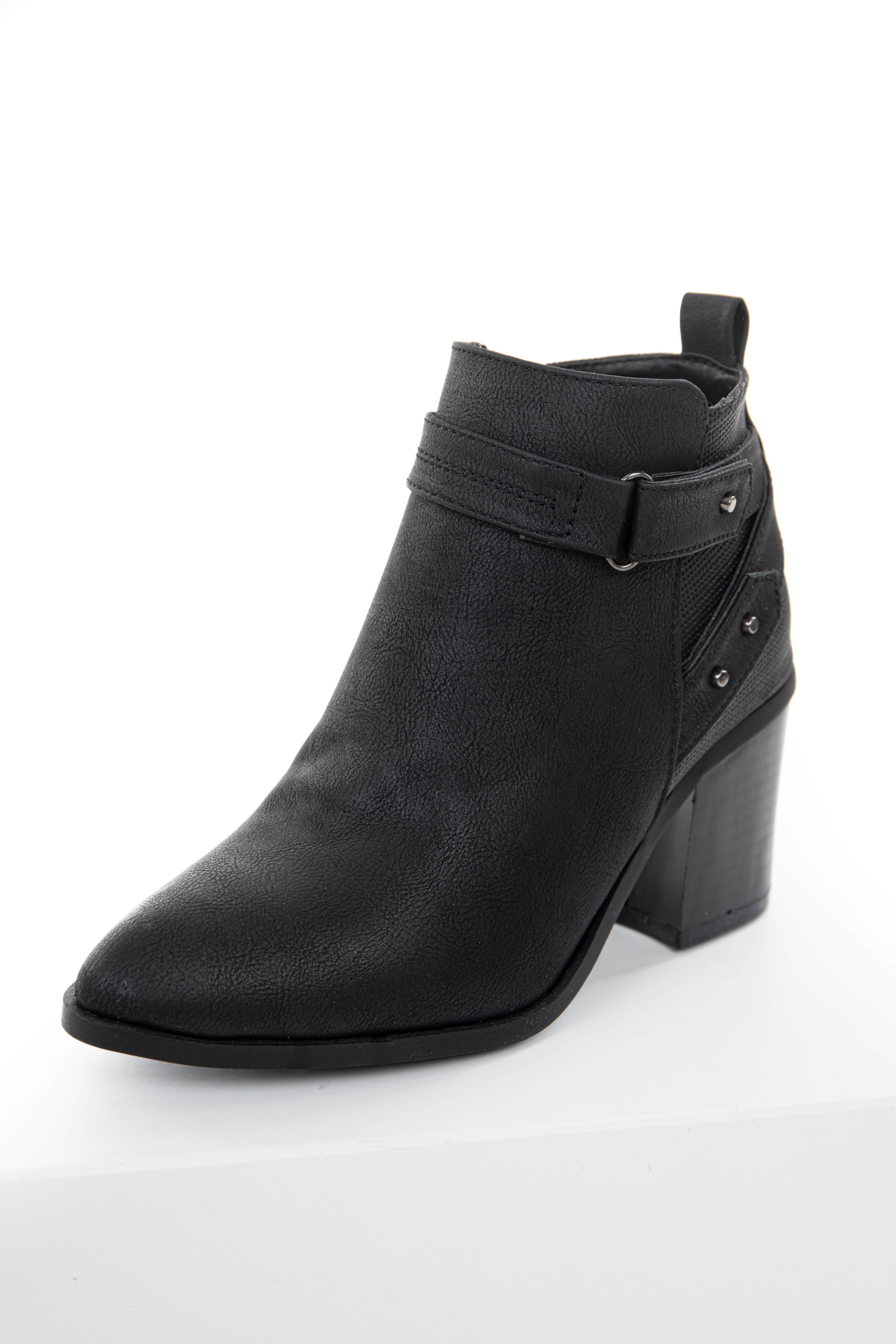 Charcoal Faux Leather High Heel Booties with Buckle Details