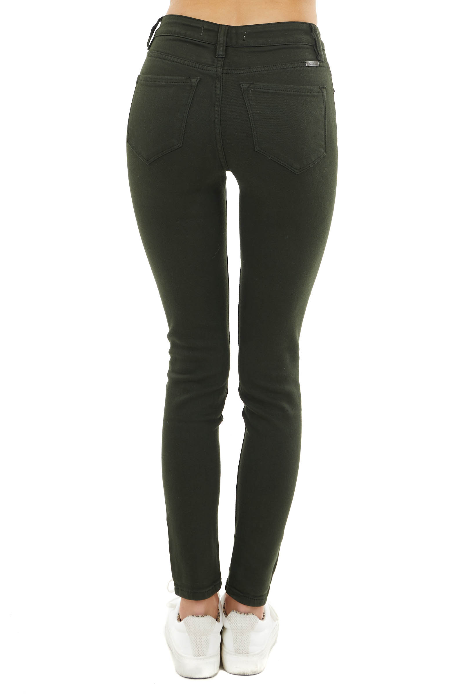 Dark Olive High Rise Super Skinny Jeans with Pockets