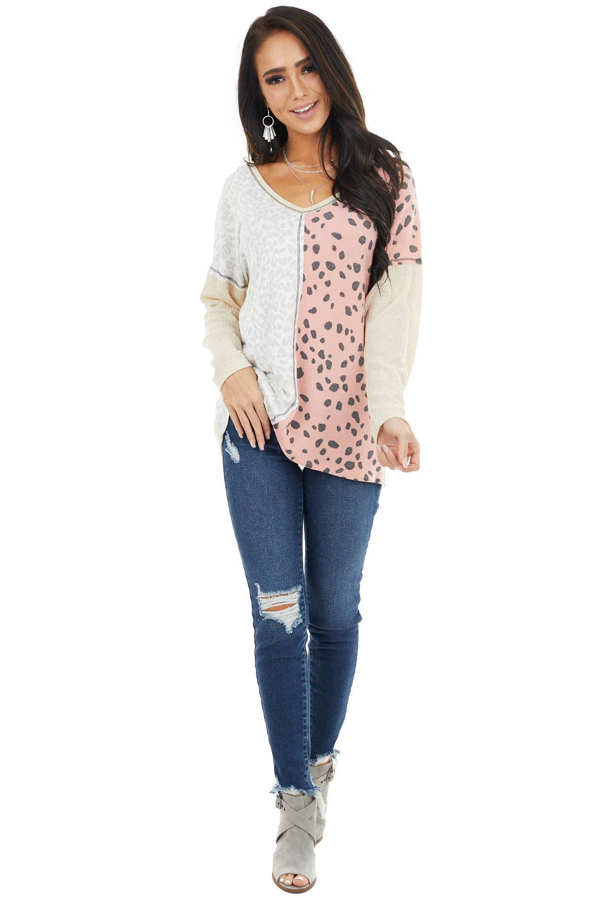 Sand Waffle Knit Top with Blush Leopard Print Contrast