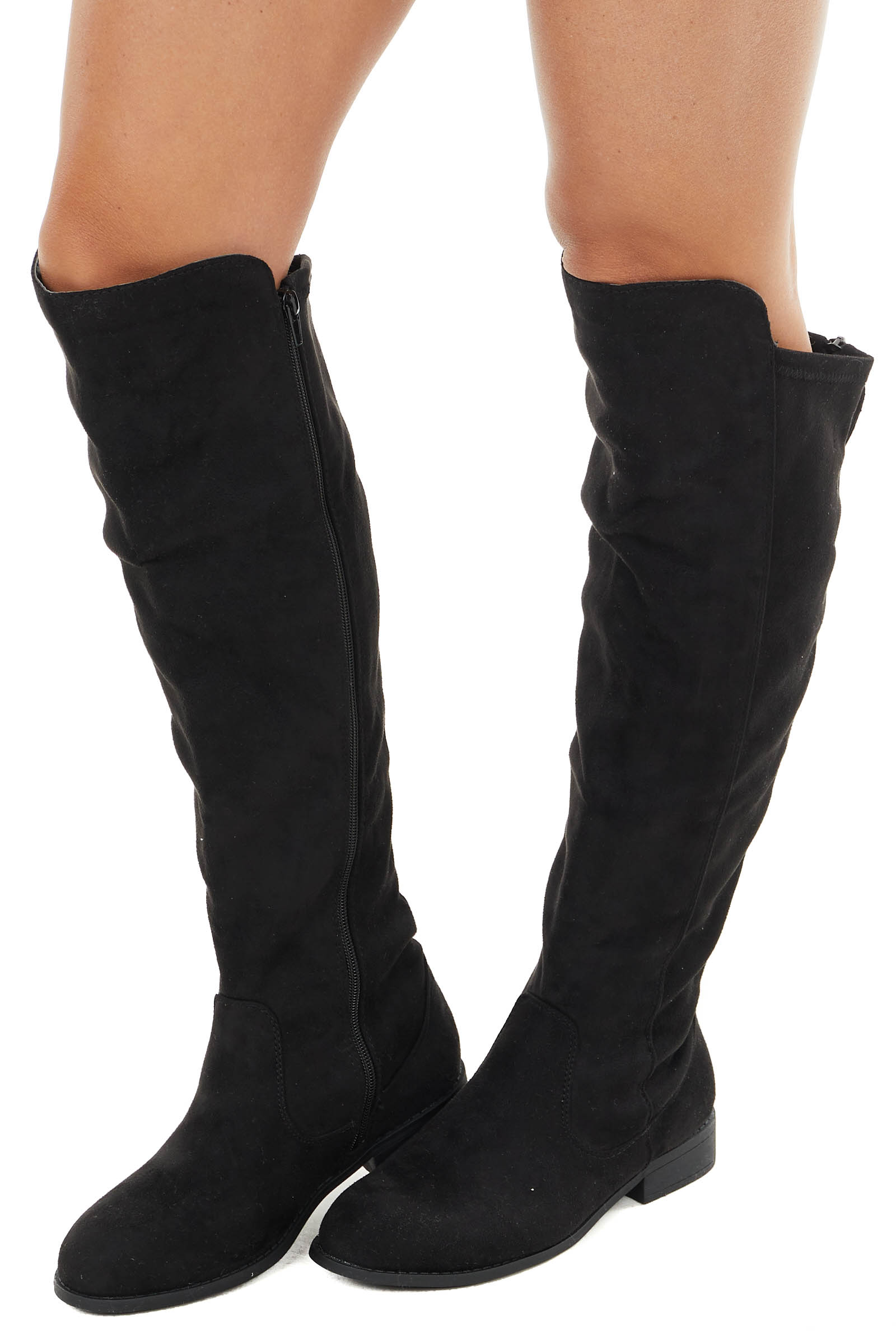 Black Faux Suede Knee High Zip Up Boots with Rounded Toe