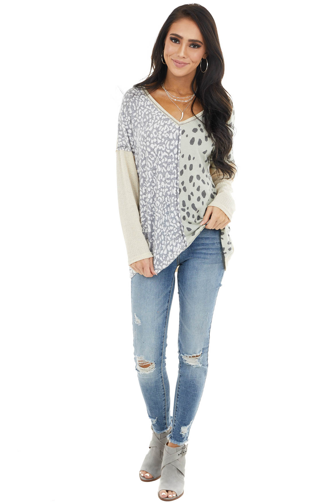 Sand Waffle Knit Top with Sage Leopard Print Contrast