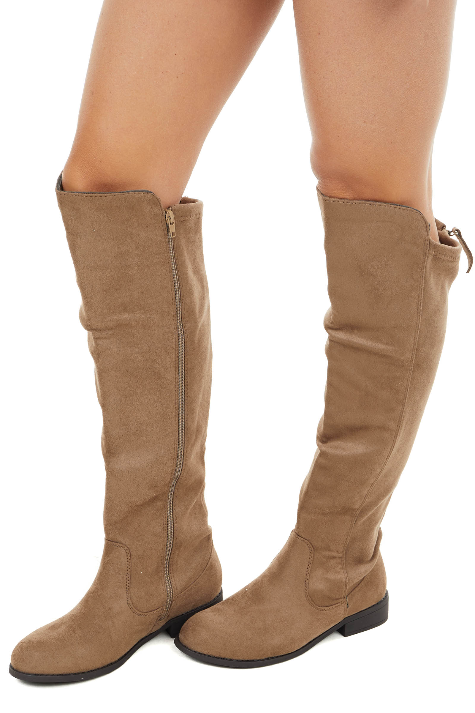 Taupe Faux Suede Knee High Zip Up Boots with Rounded Toe