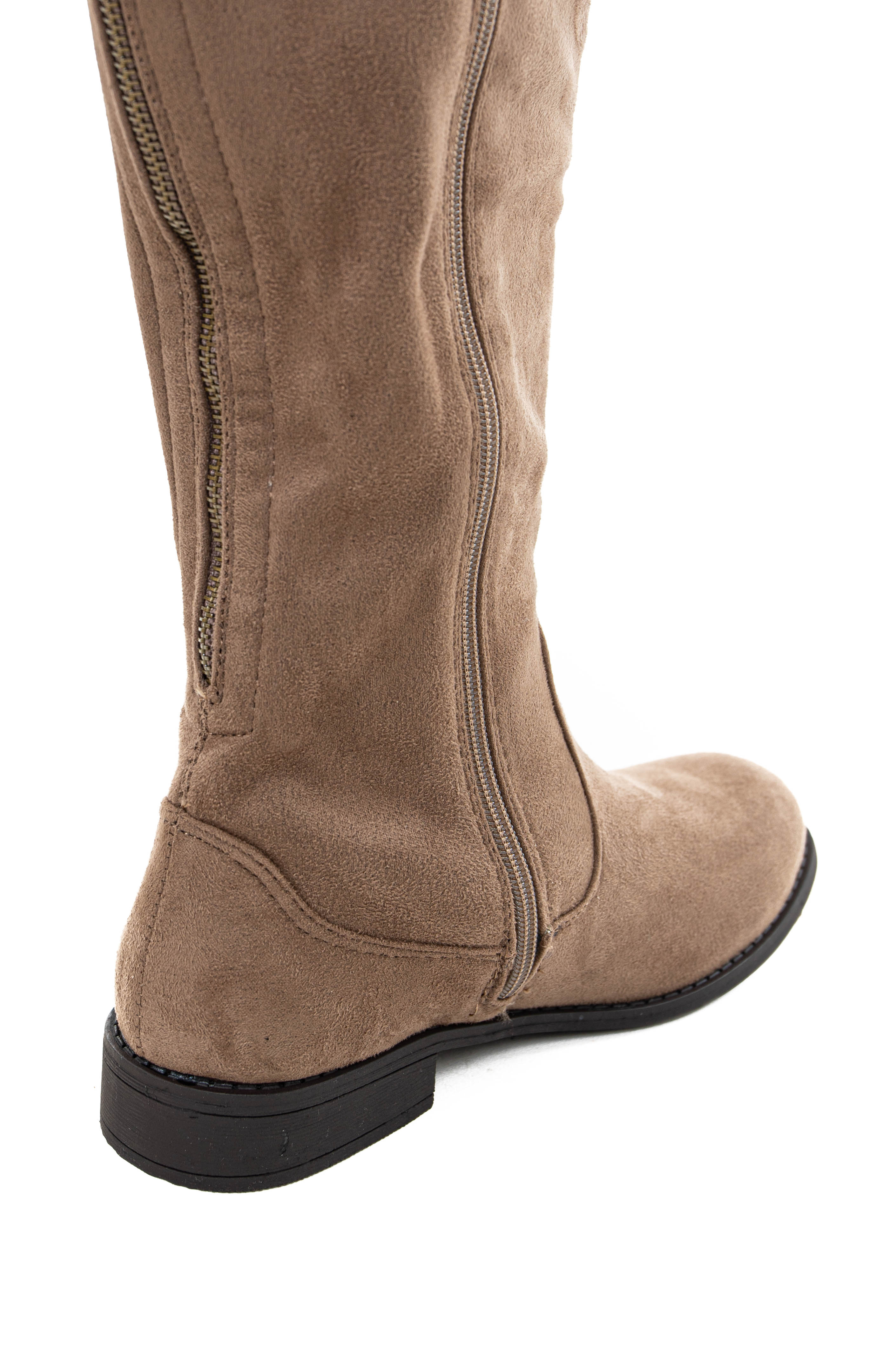 Taupe Faux Suede Knee High Zip Up Boots