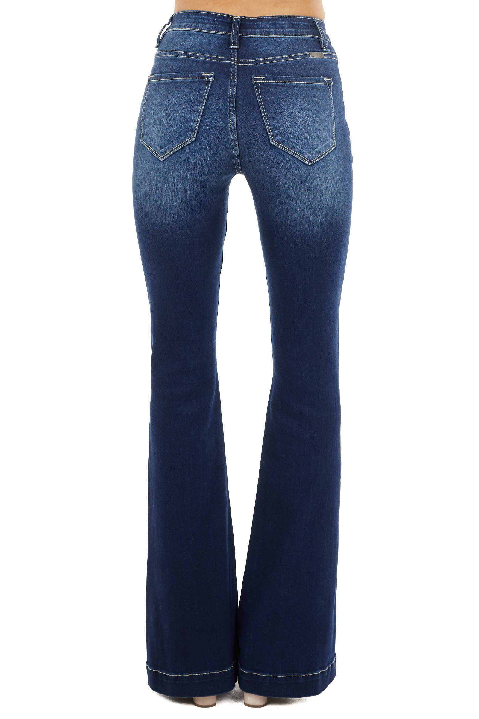 Dark Wash High Rise Flare Jeans with Exposed Button Detail