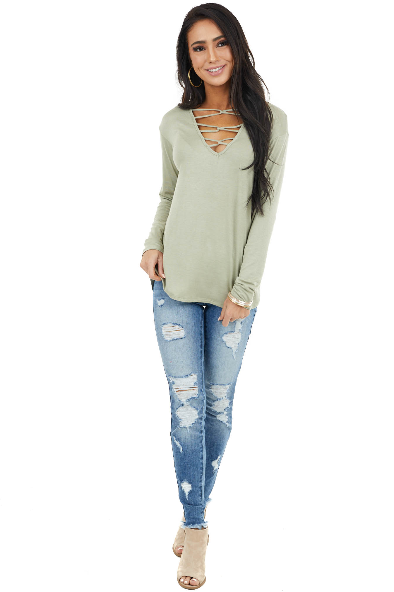 Sage Caged V Neck Stretchy Knit Top with Long Sleeves