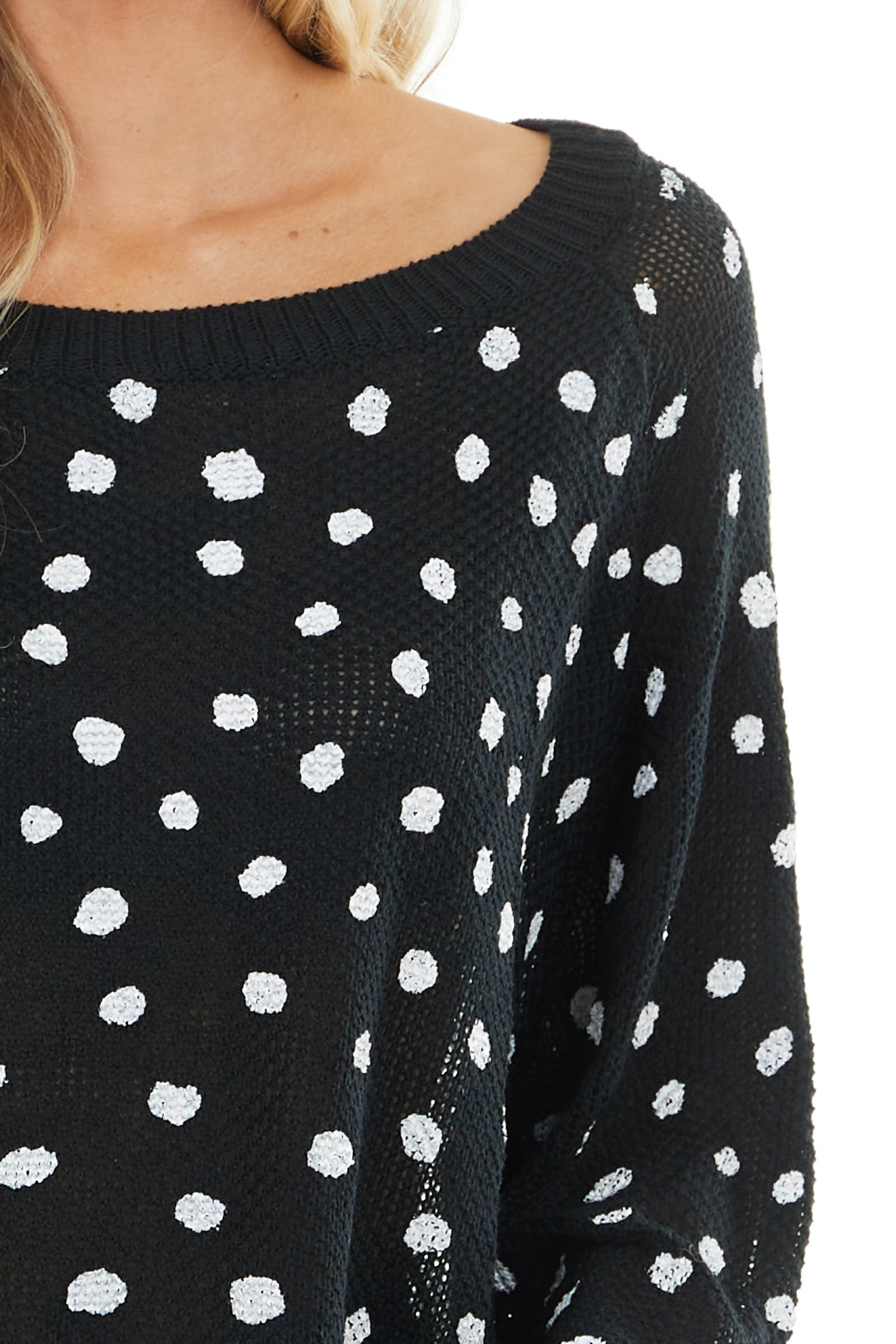 Black and Off White Polka Dot Long Bubble Sleeve Sweater
