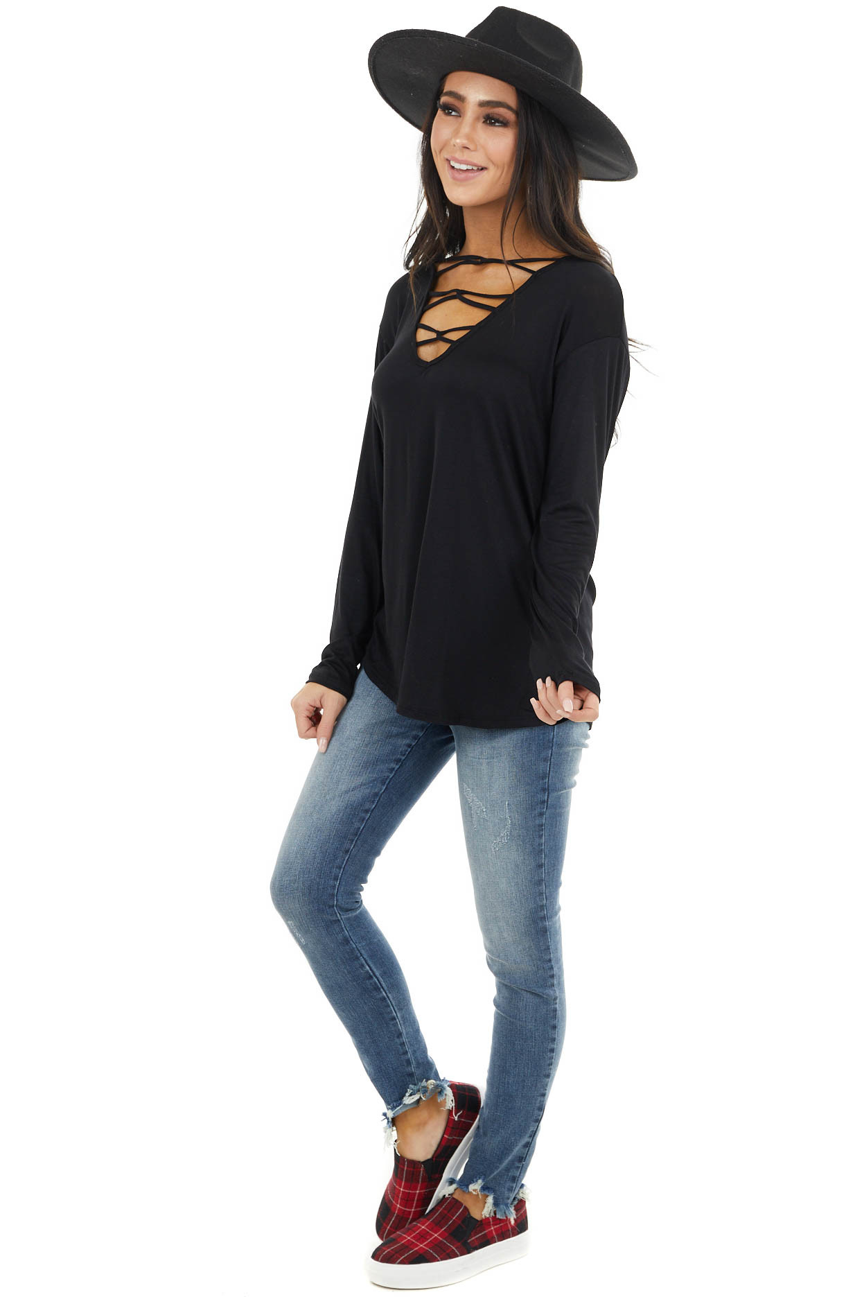 Black Caged V Neck Stretchy Knit Top with Long Sleeves